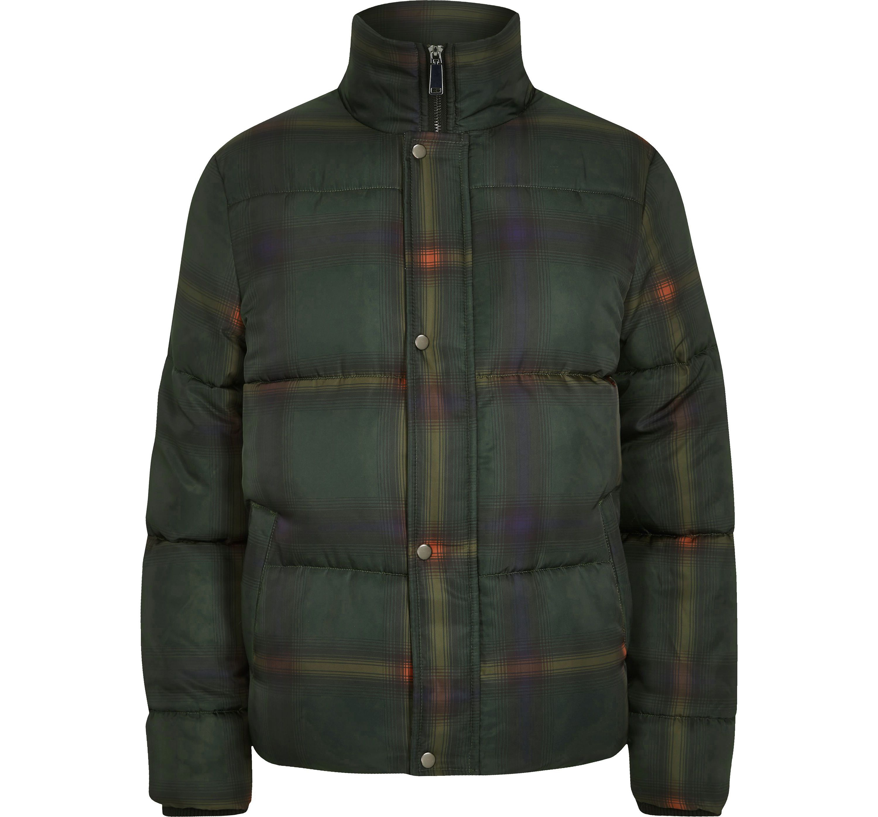River Island Mens Green check funnel neck puffer jacket