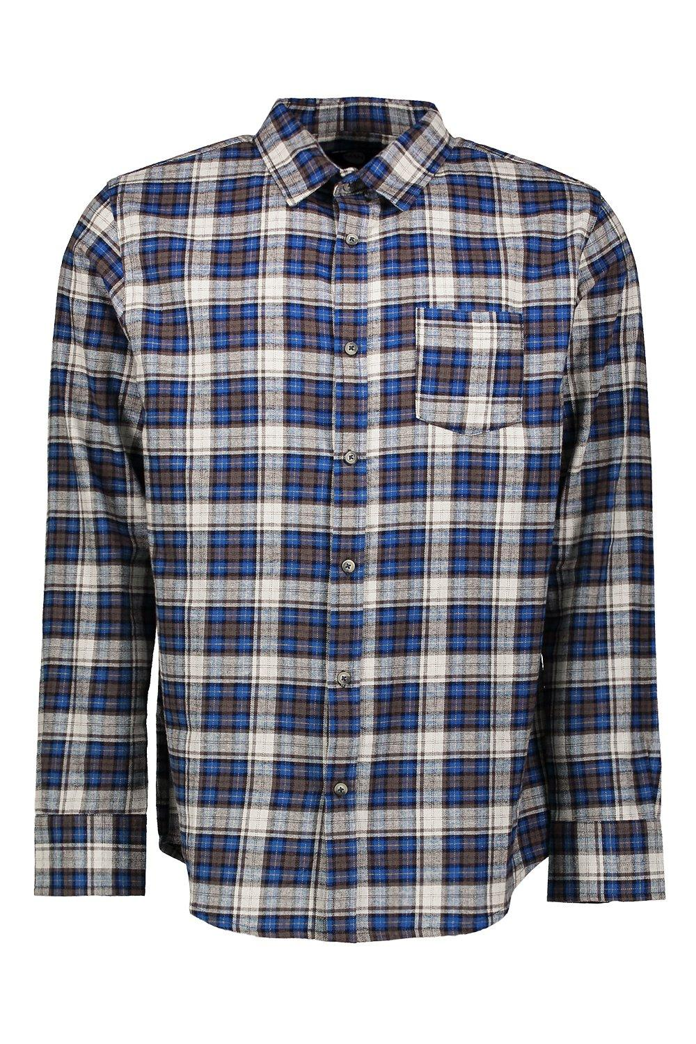 boohooMAN Long Sleeve Navy Buffalo Check Shirt