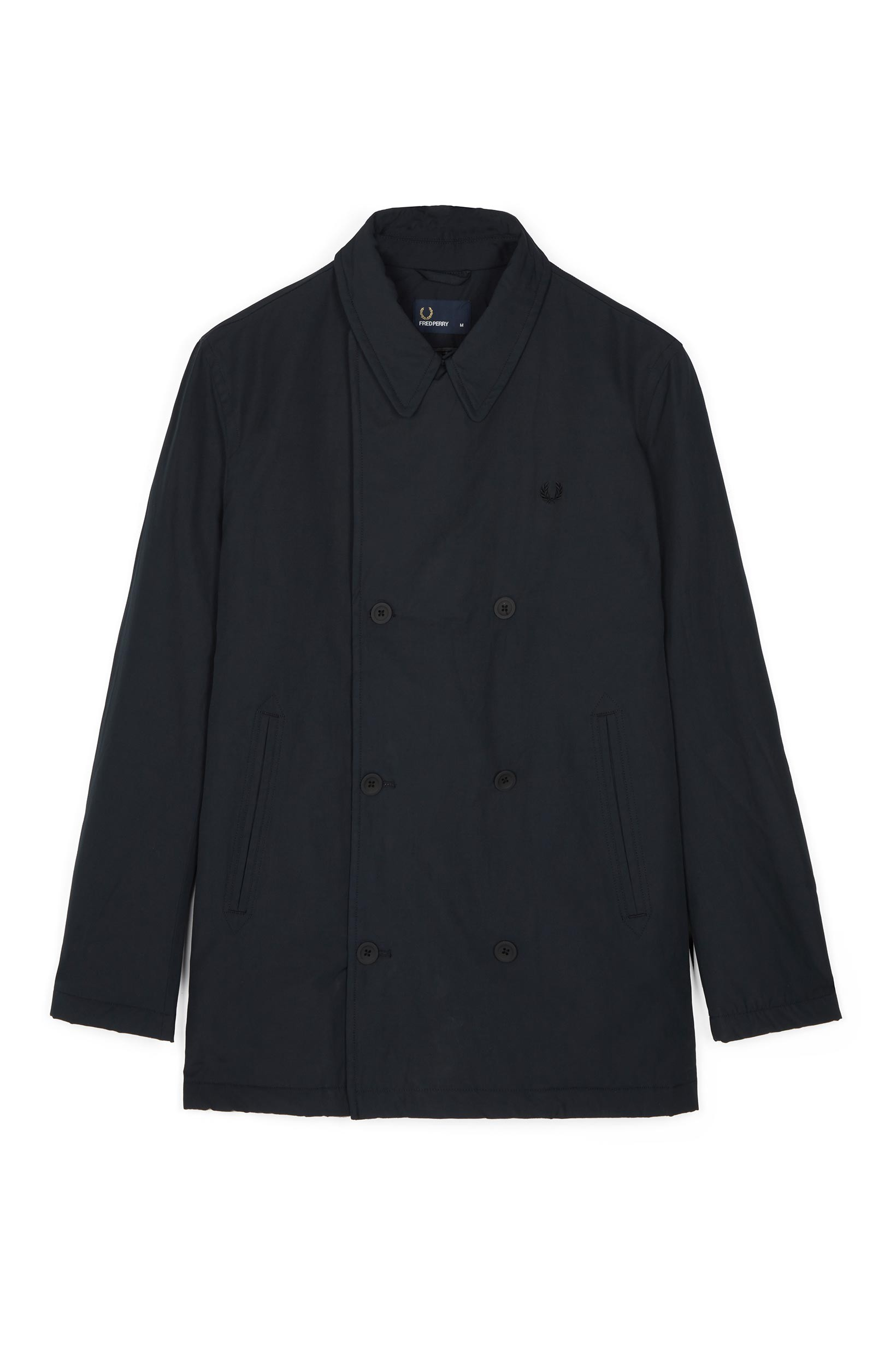 Fred Perry Black Quilted Pea Coat
