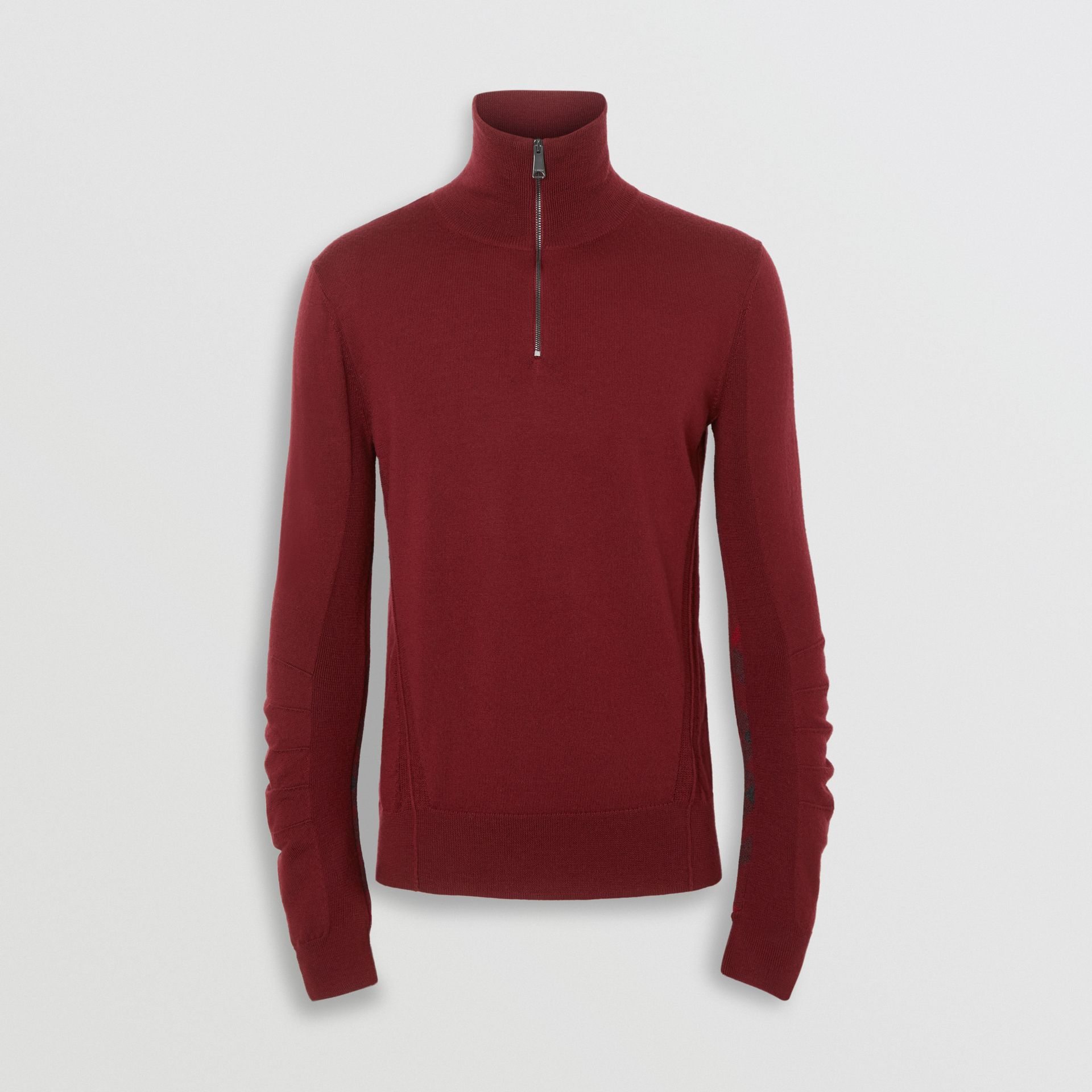 Burberry Burgundy Merino Wool Half-zip Sweater
