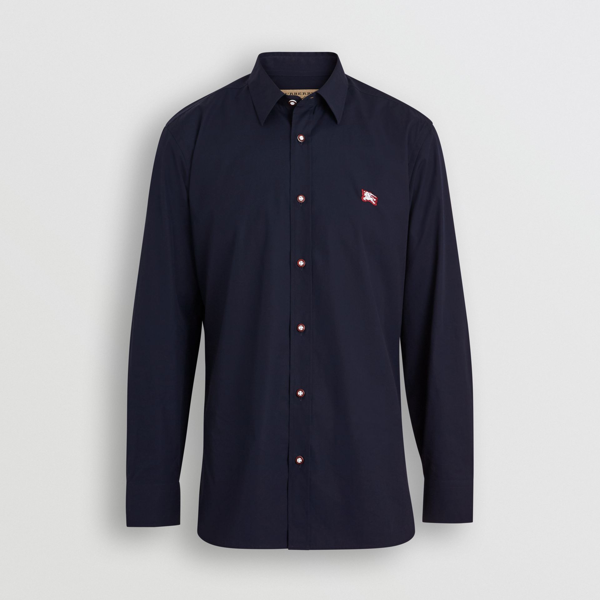 Burberry Navy Contrast Button Stretch Cotton Shirt