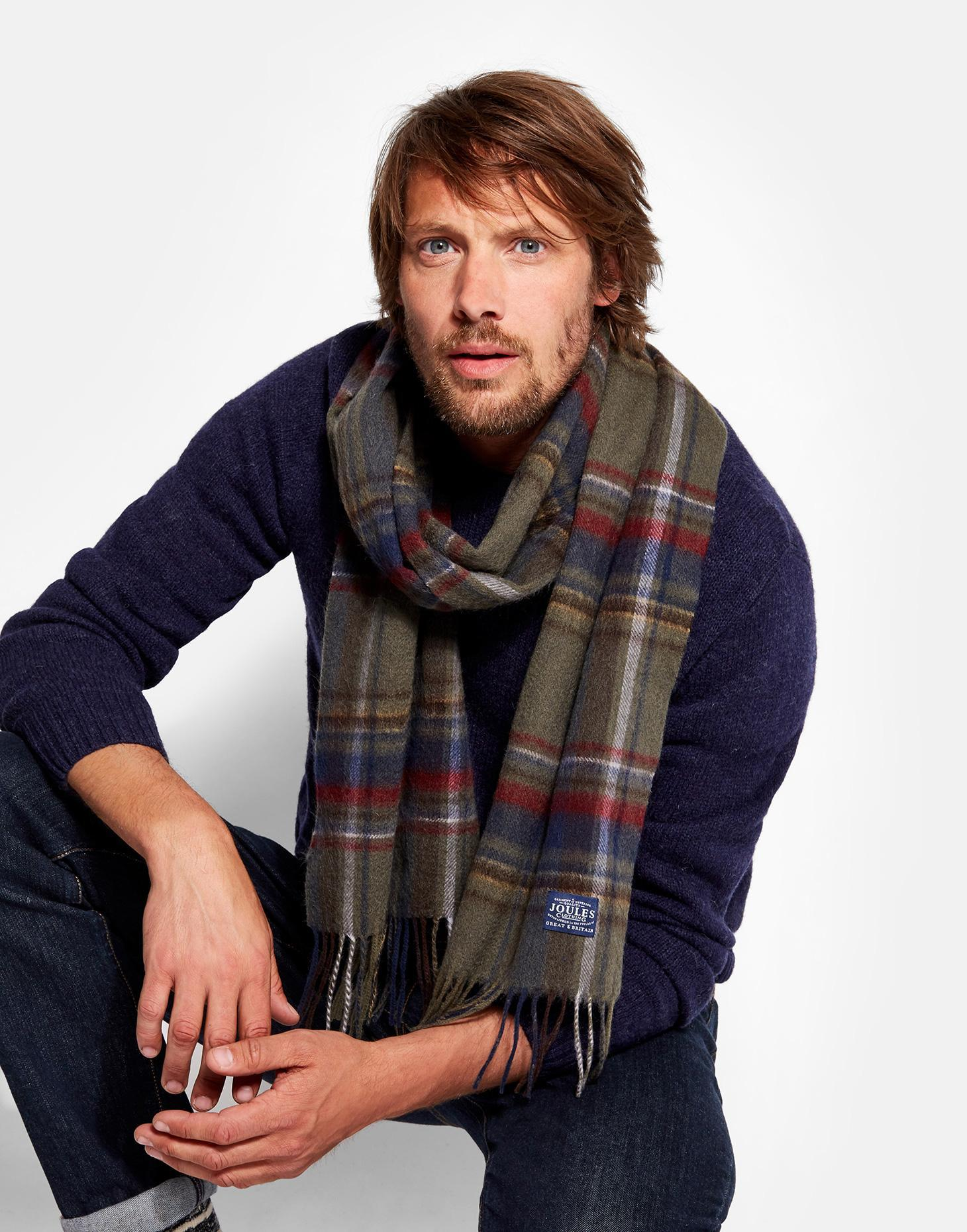 Joules Green Check Tytherton Wool Checked Scarf