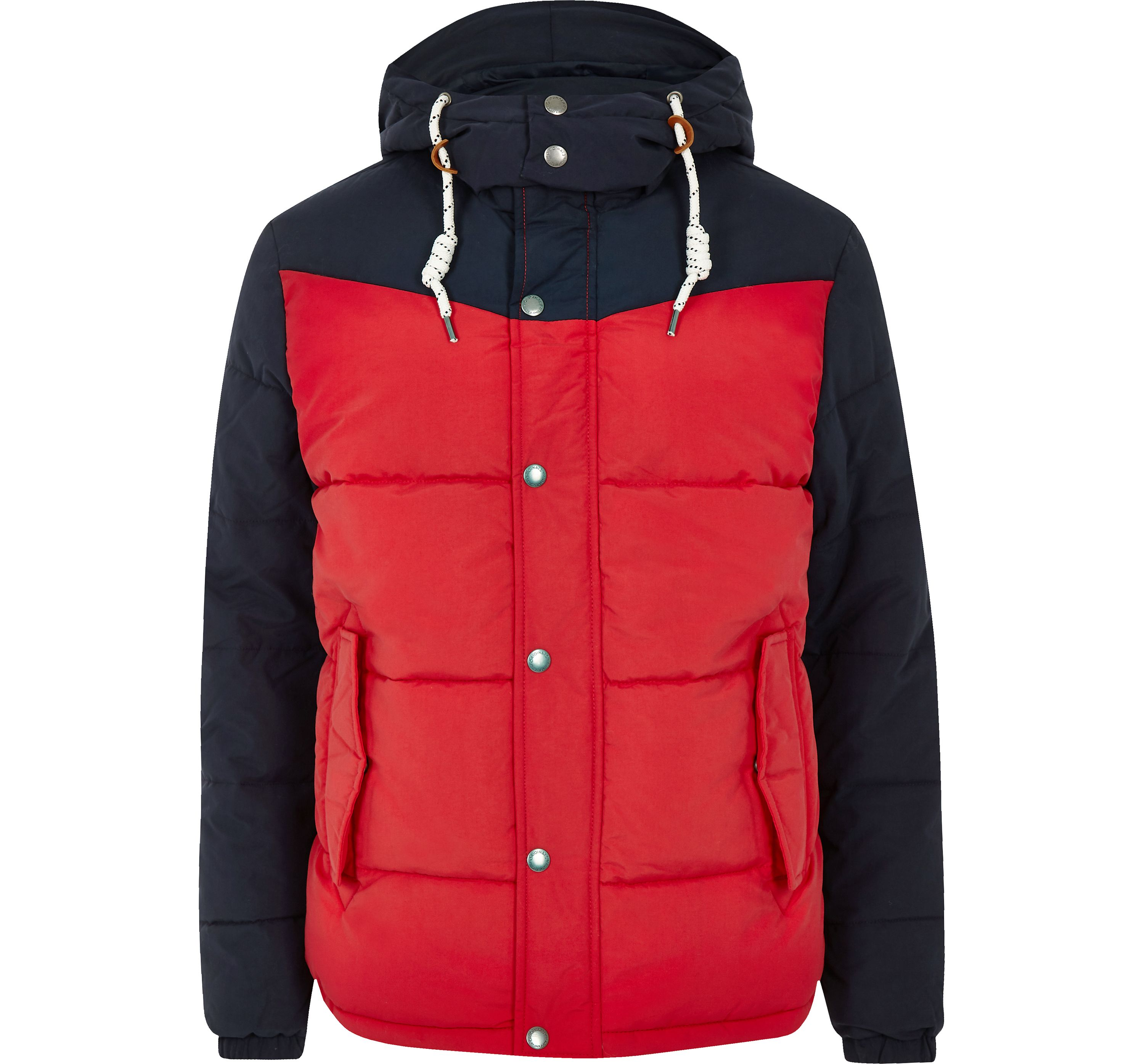 River Island Mens Jack and Jones Red hooded puffer jacket