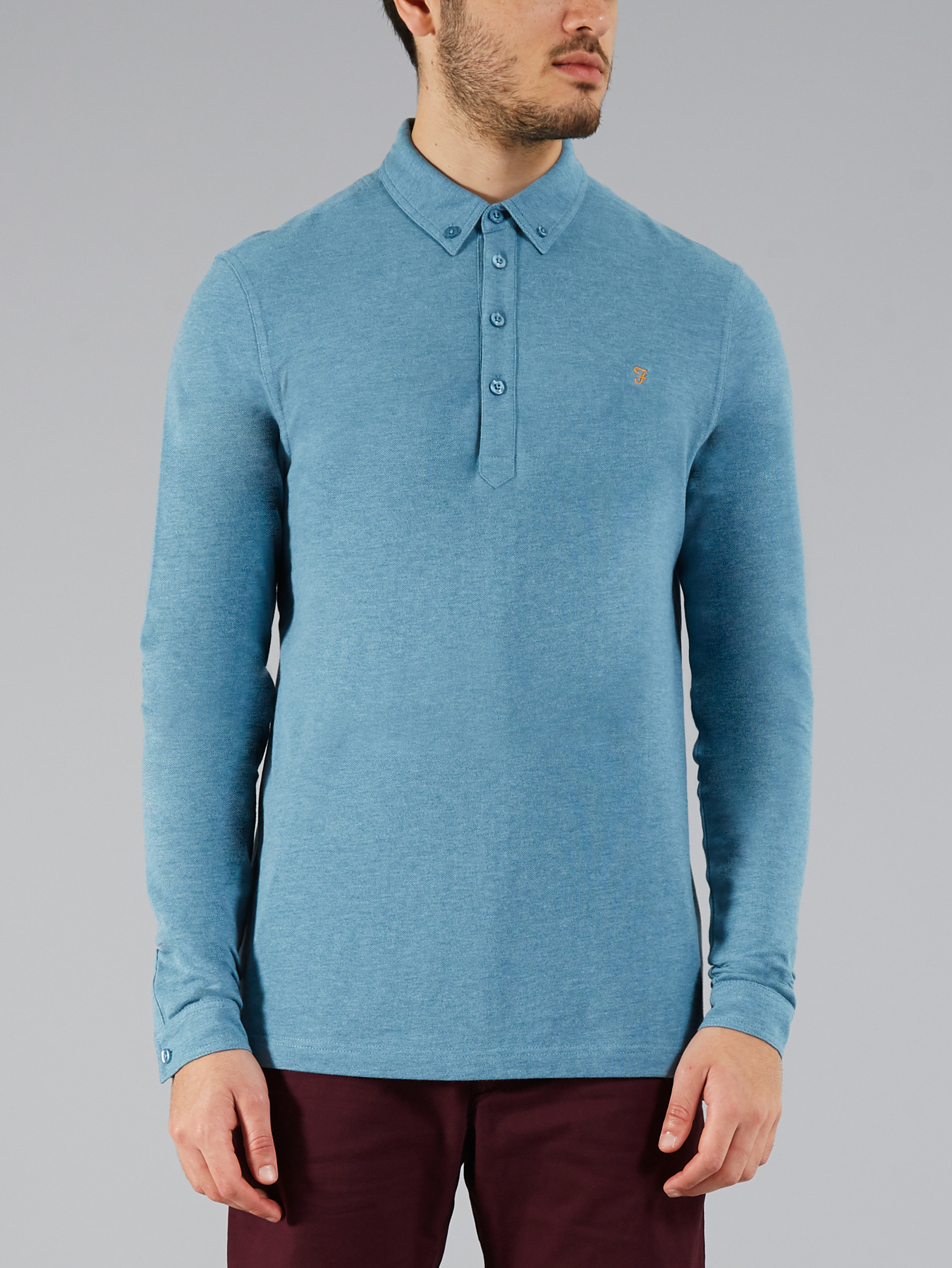Merriweather Long Sleeve Polo By Farah Vintage Thread Com