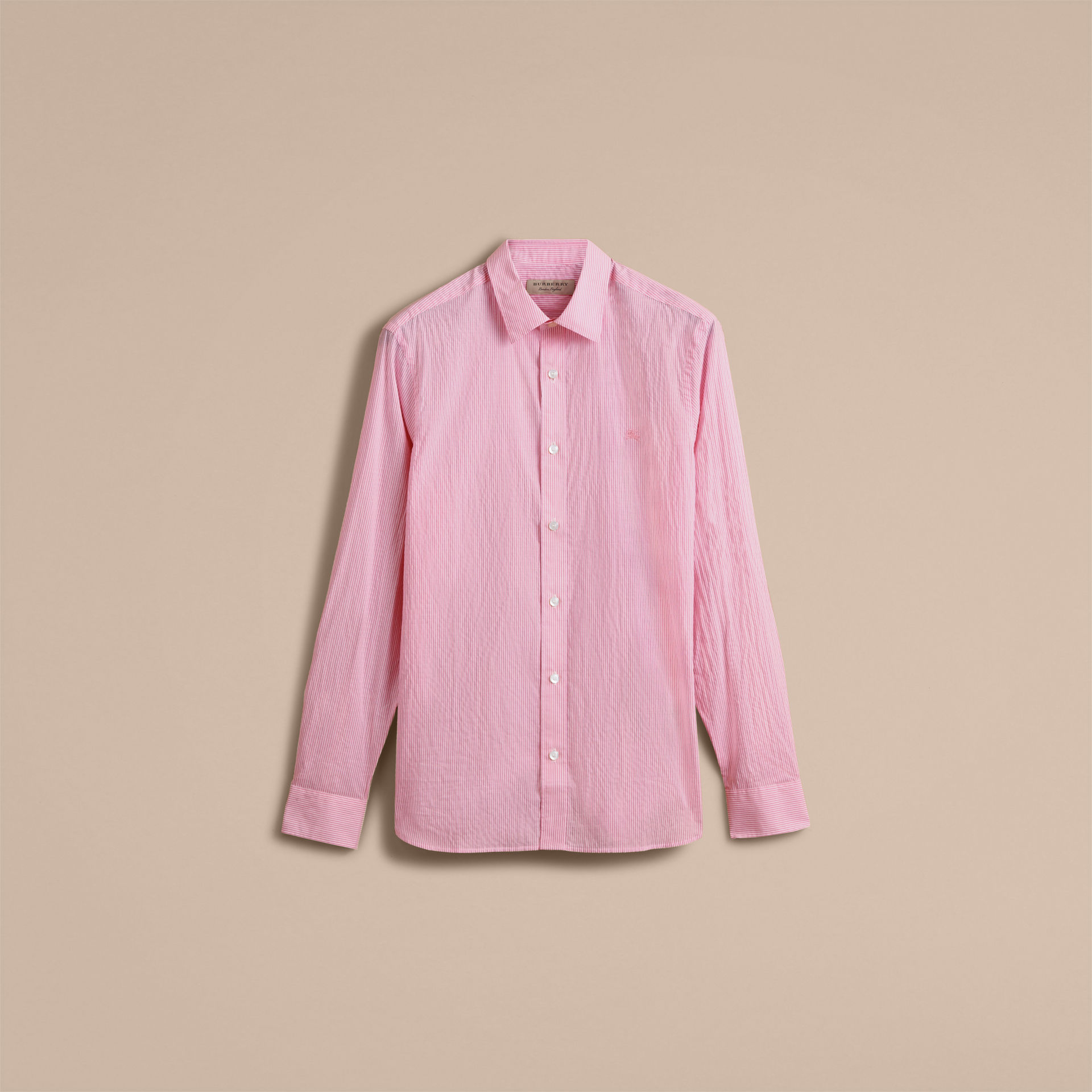 Burberry Pale Pink Striped Cotton Blend Shirt