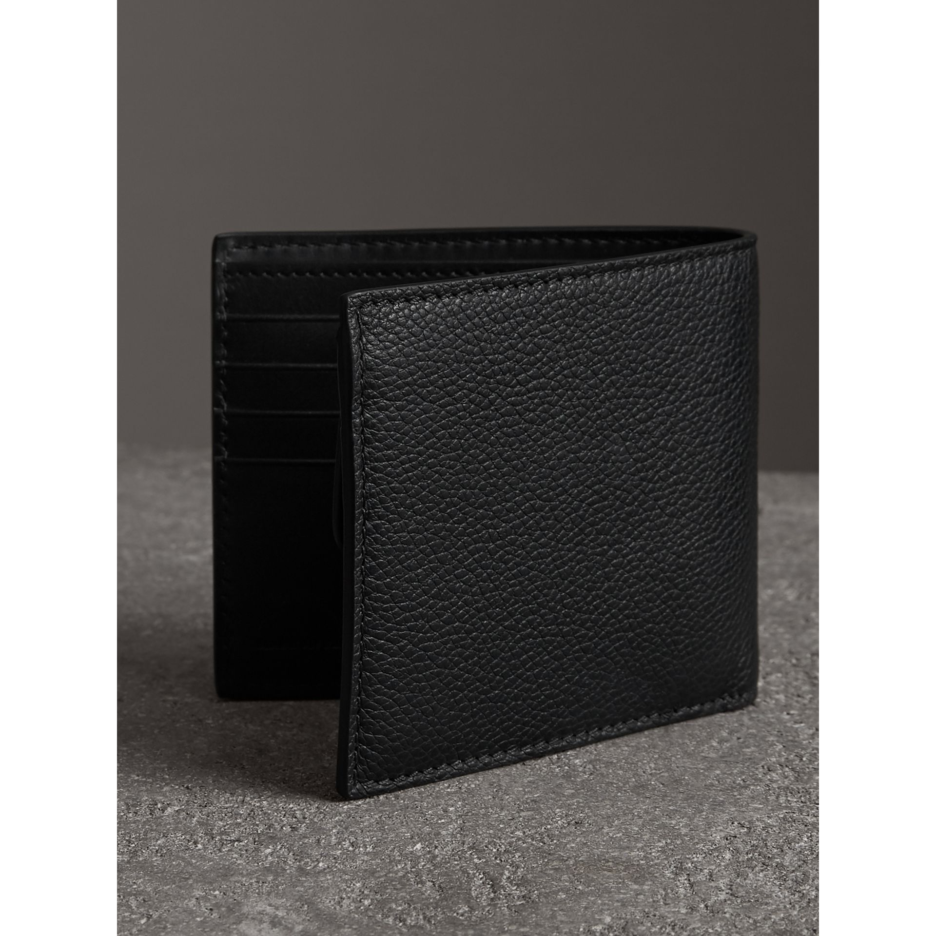 Burberry Black Grainy Leather International Bifold Coin Wallet