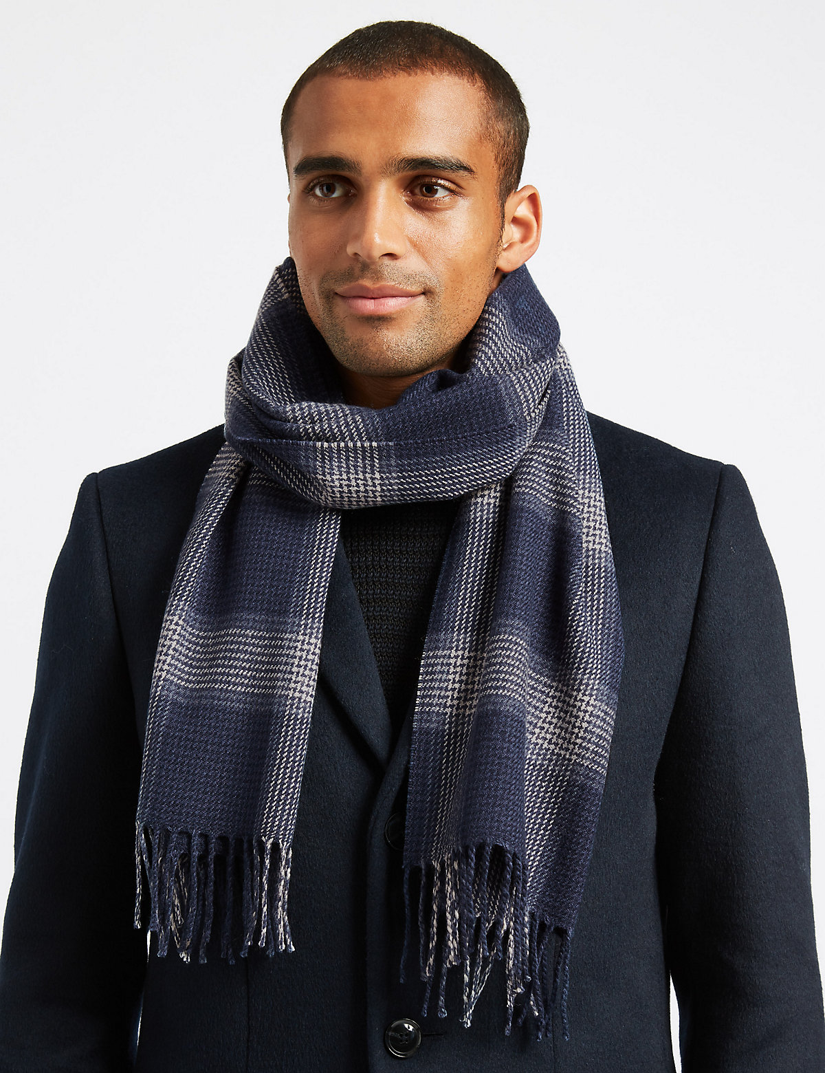 Marks & Spencer Navy Mix Checked Scarf with wool