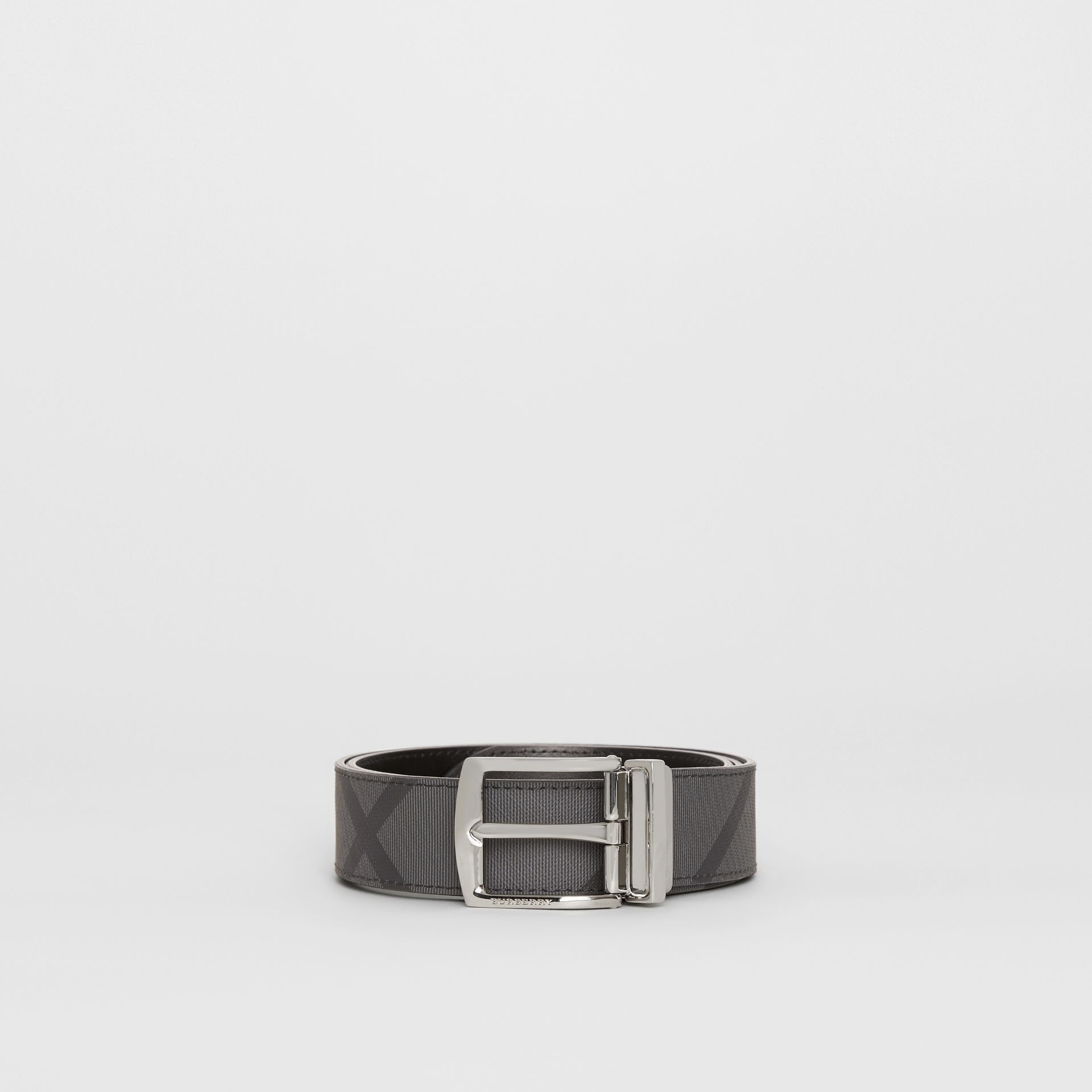 Burberry Charcoal/Black Reversible London Check and Leather Belt