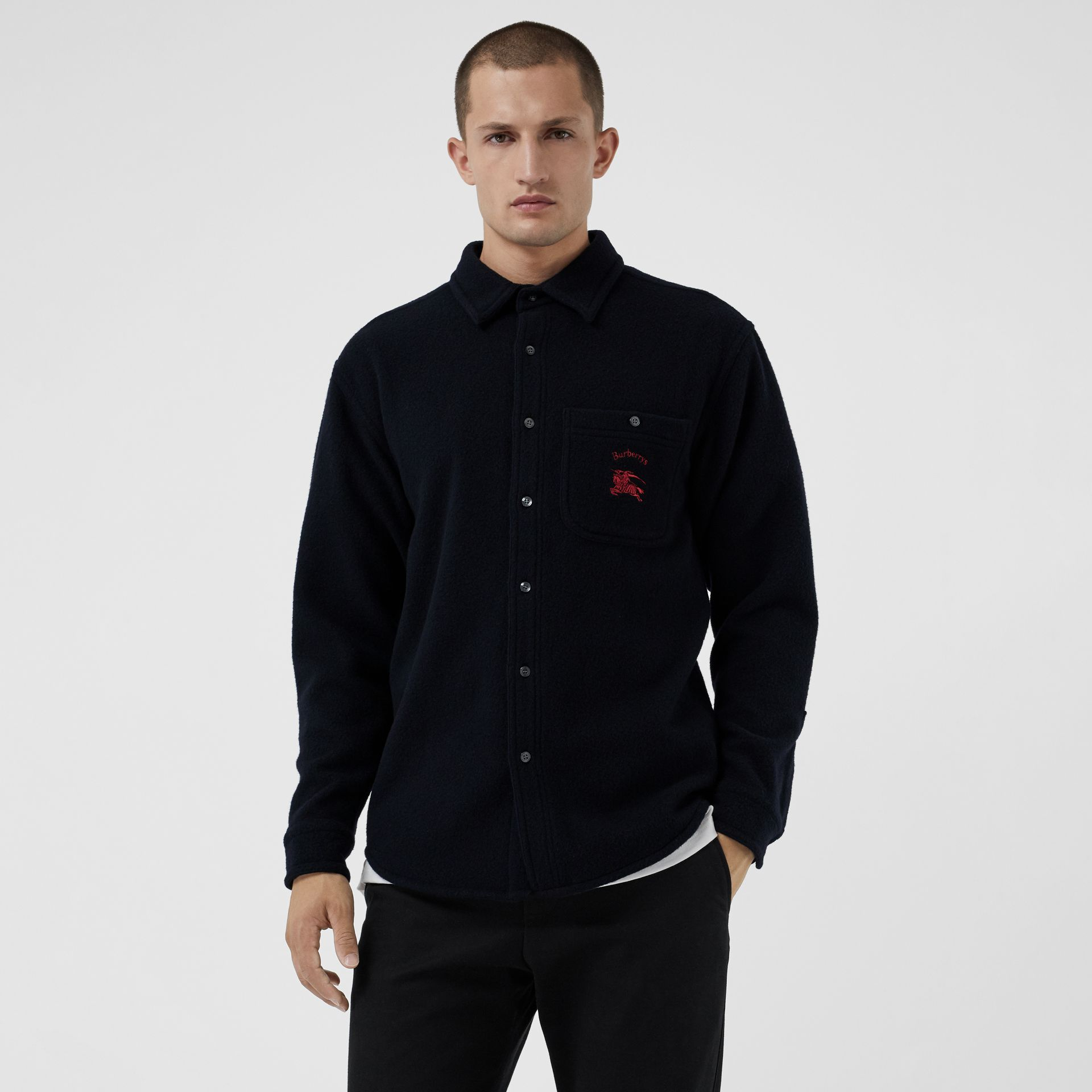 Burberry Dark Navy Embroidered Archive Logo Wool Cashmere Overshirt