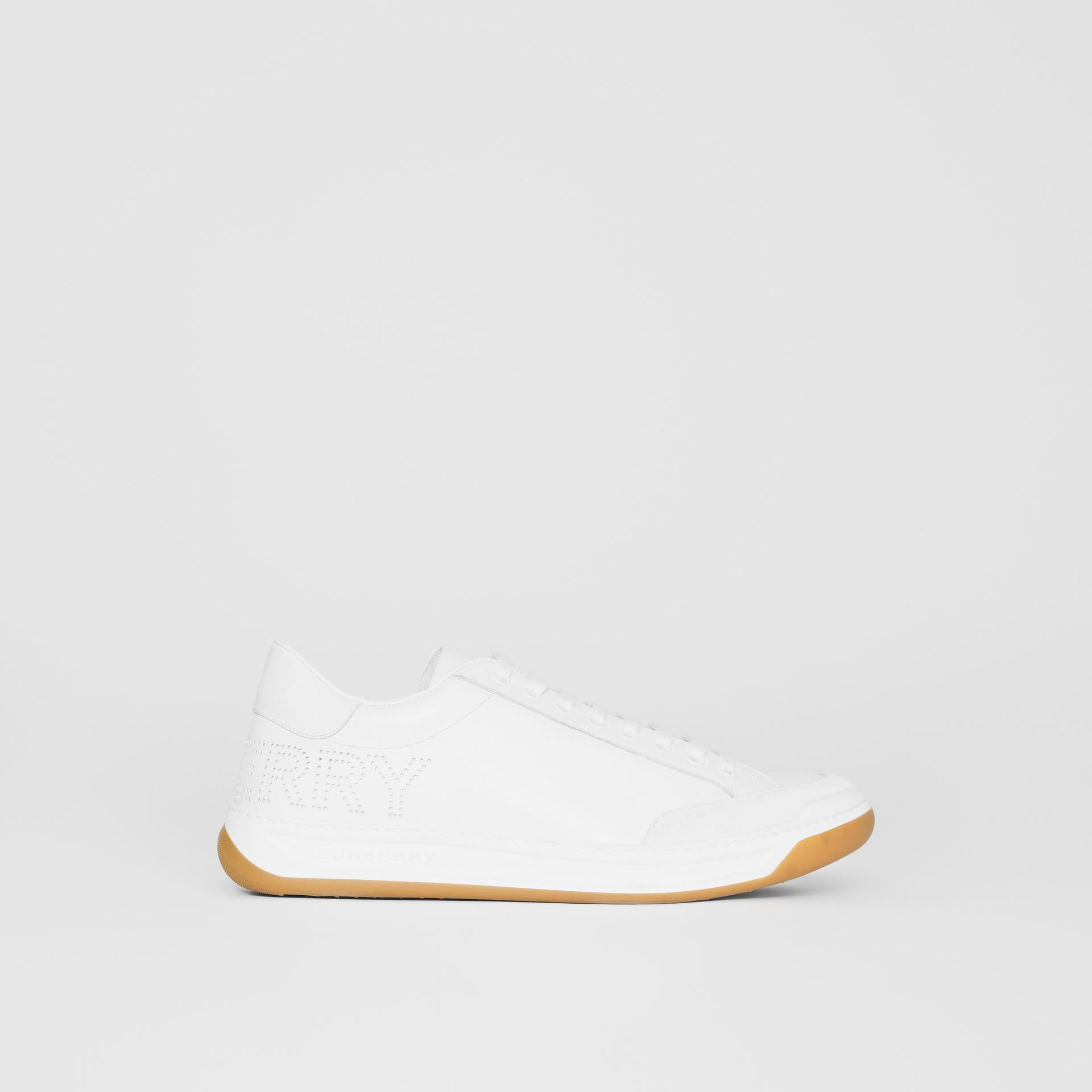 Burberry Optic White Perforated Logo Leather Tennis Sneakers