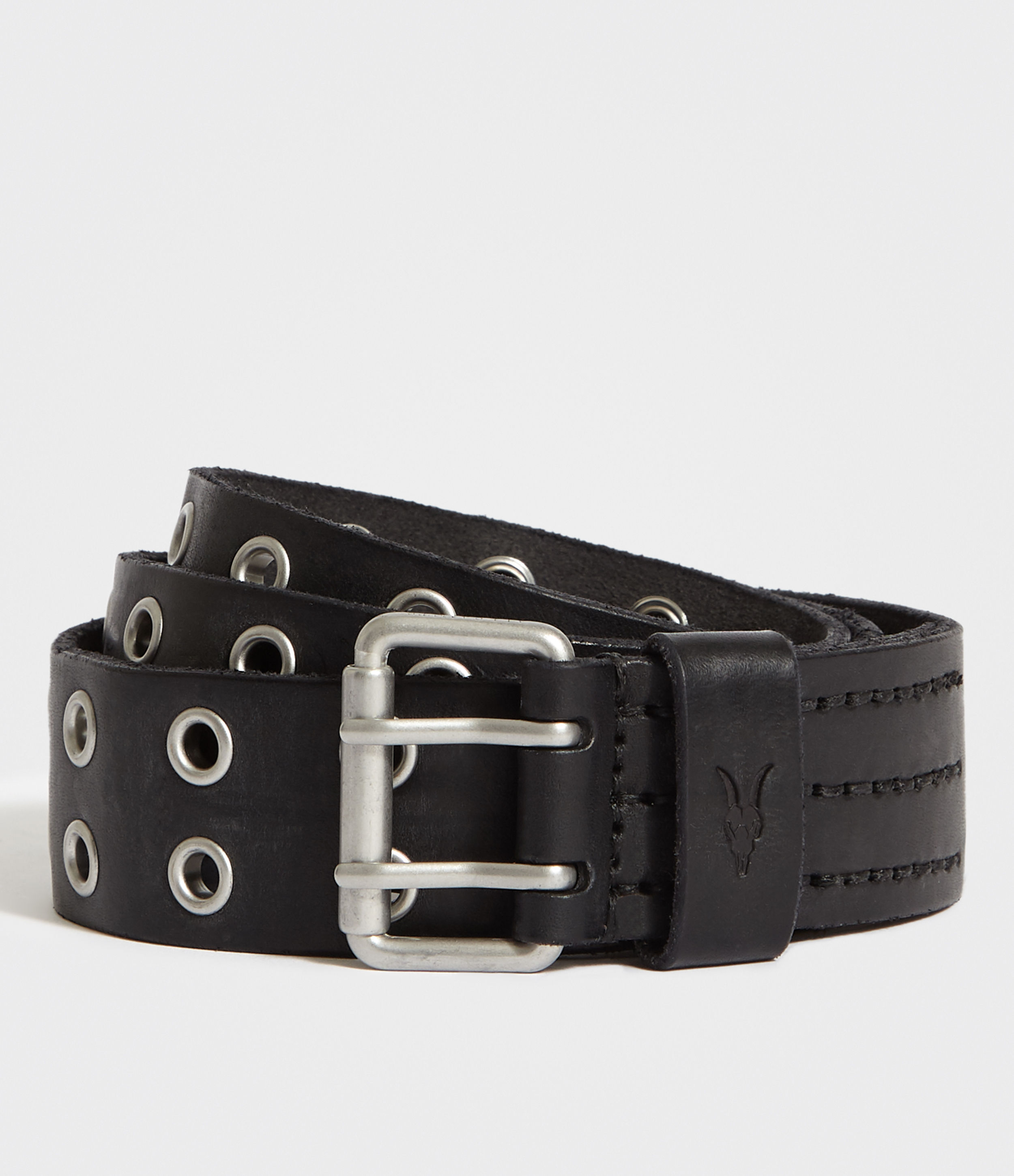 AllSaints Black Sturge Leather Belt