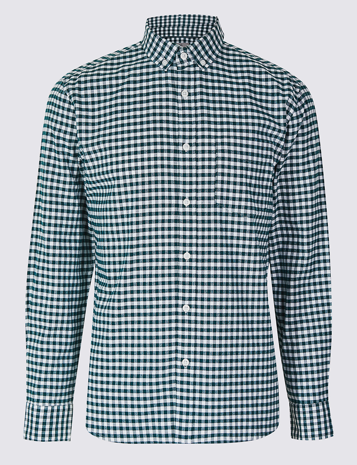 Marks & Spencer Evergreen Pure Cotton Slim Fit Checked Oxford Shirt