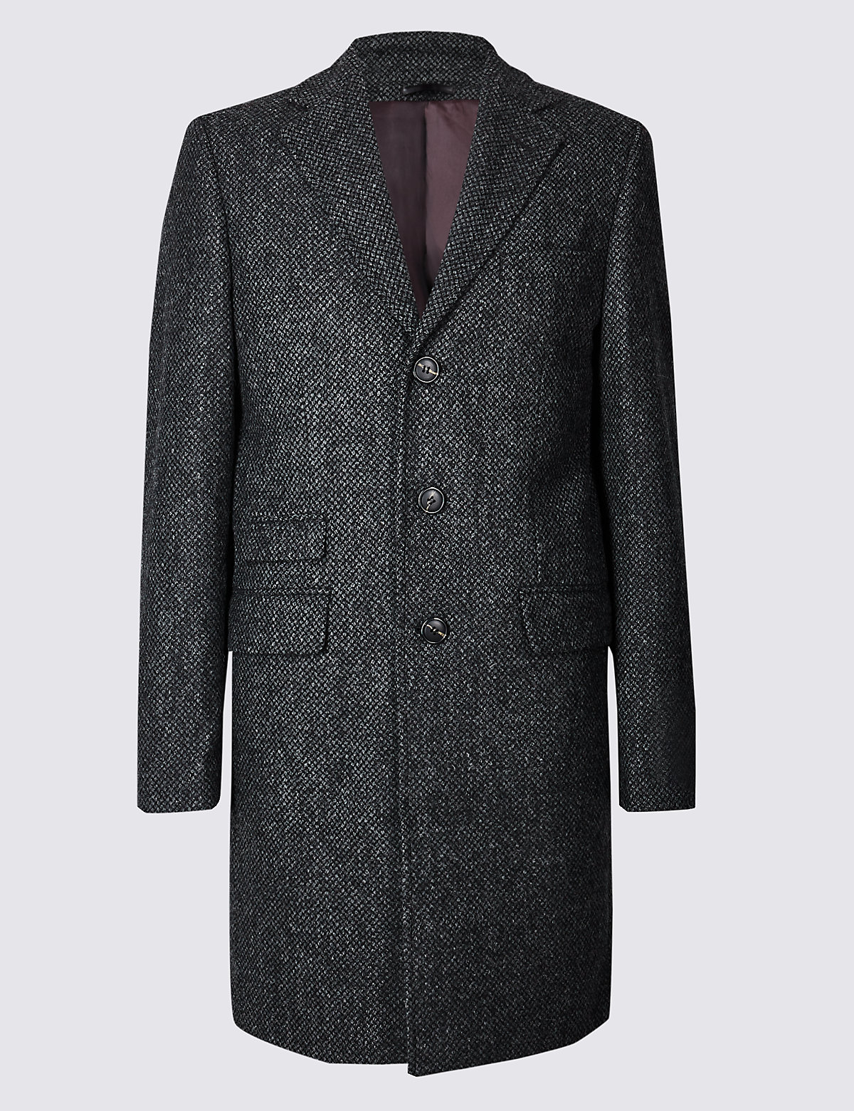 Marks & Spencer Grey Mix Pure Wool Textured Overcoat
