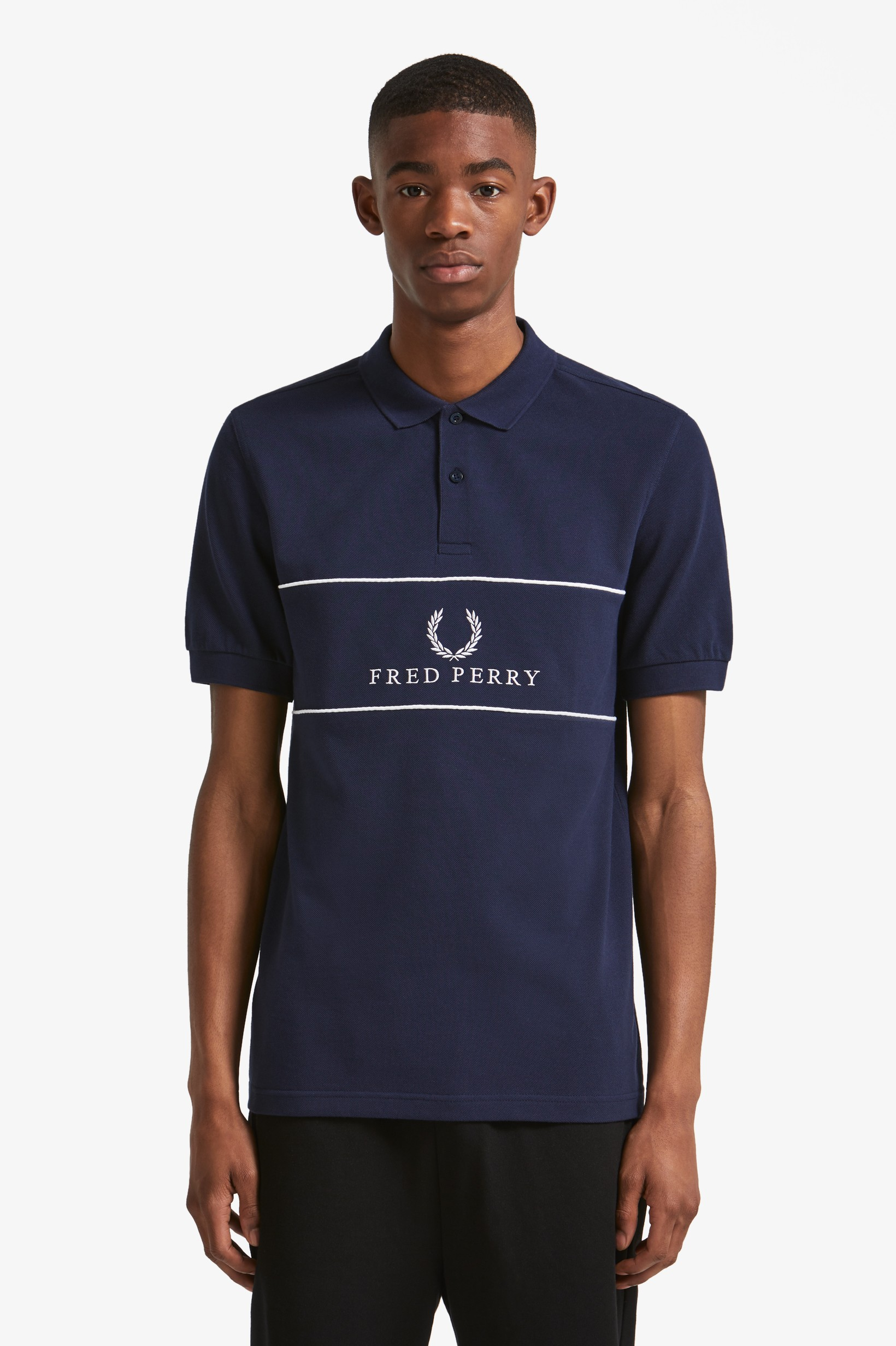 Fred Perry Carbon Blue Sports Authentic Piped Polo Shirt