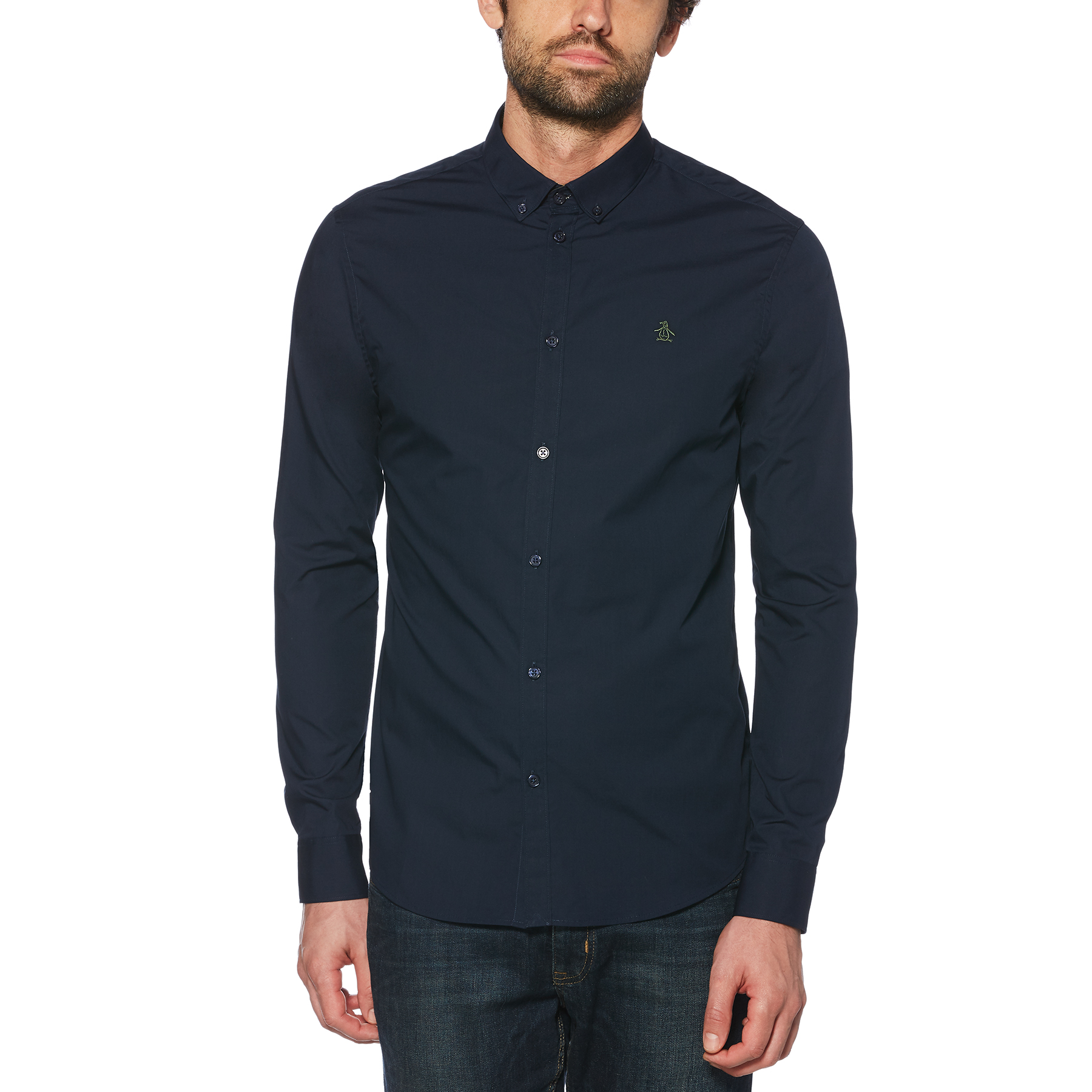 Original Penguin Dark Sapphire Camo Embroidered Shirt