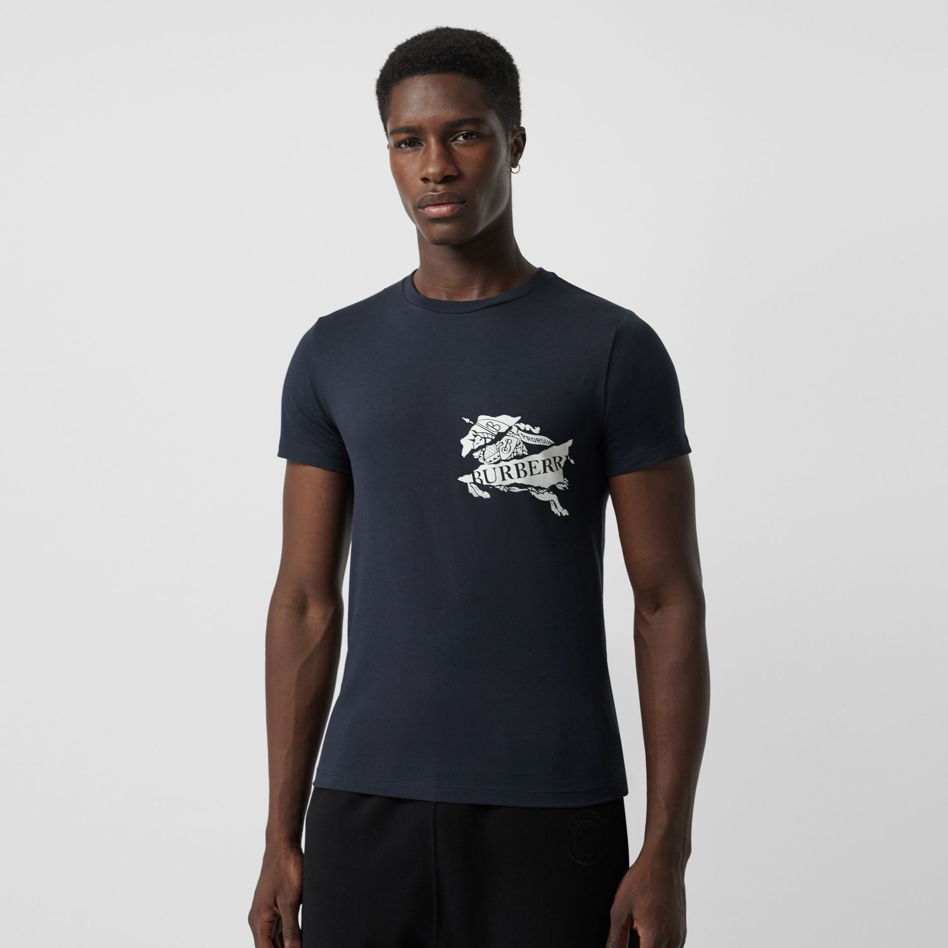 Burberry Navy Collage Logo Print Cotton T-shirt