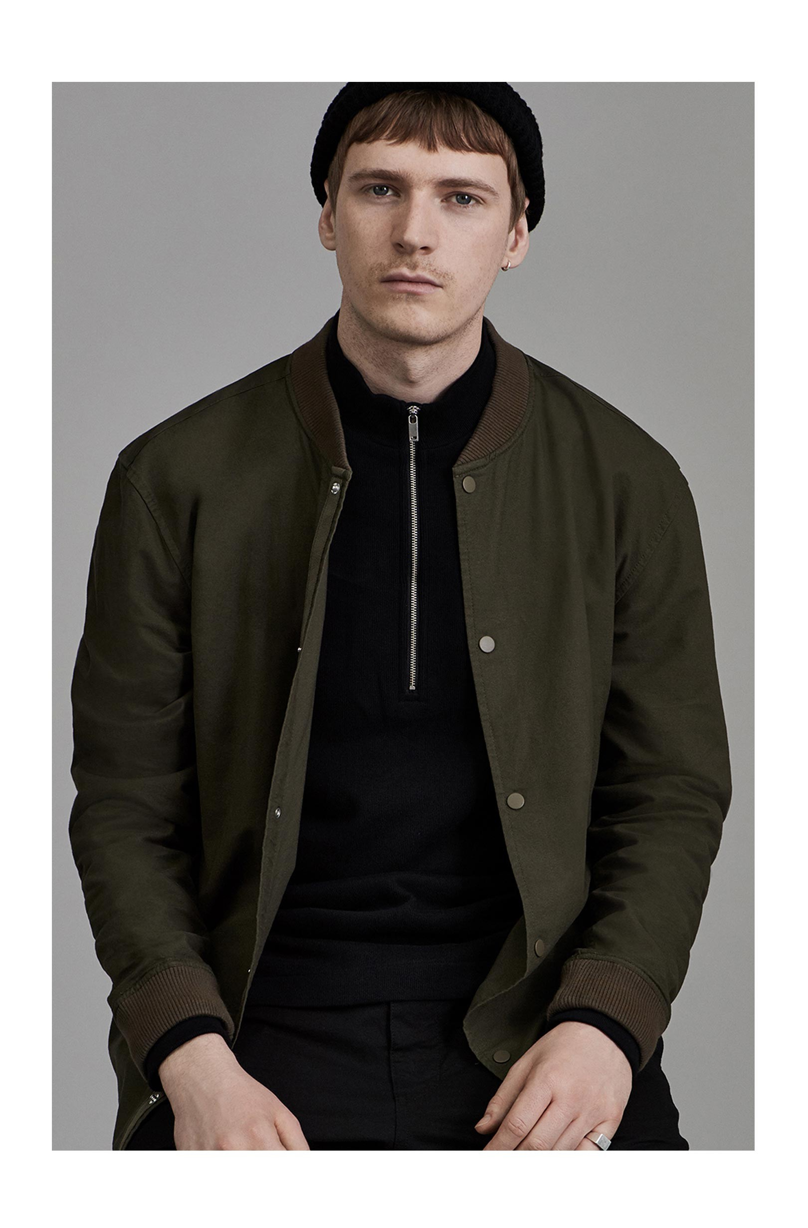 Fred Perry Black Ribbed Half-Zip Jumper