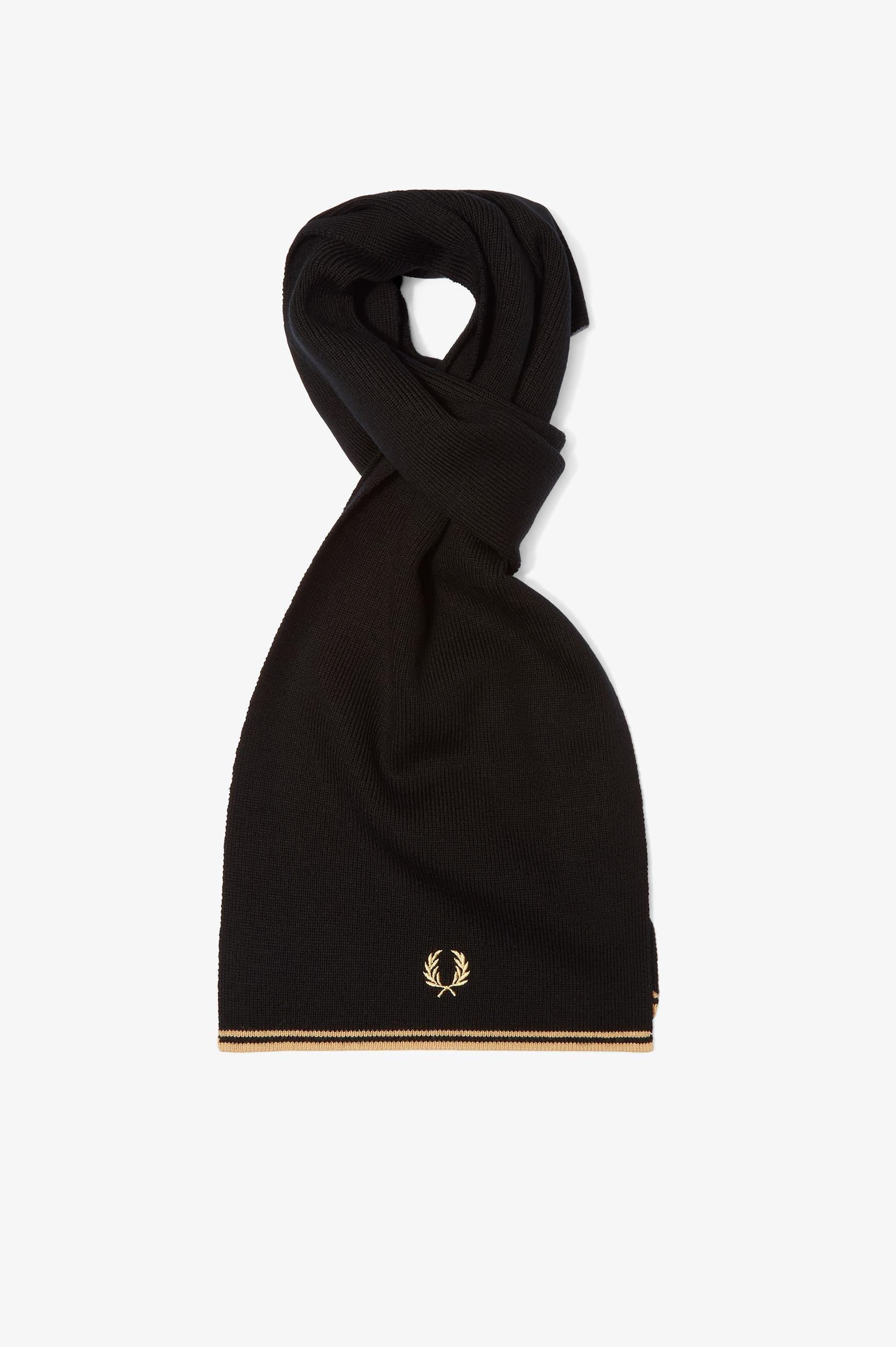Fred Perry Black Twin Tipped Merino Wool Scarf