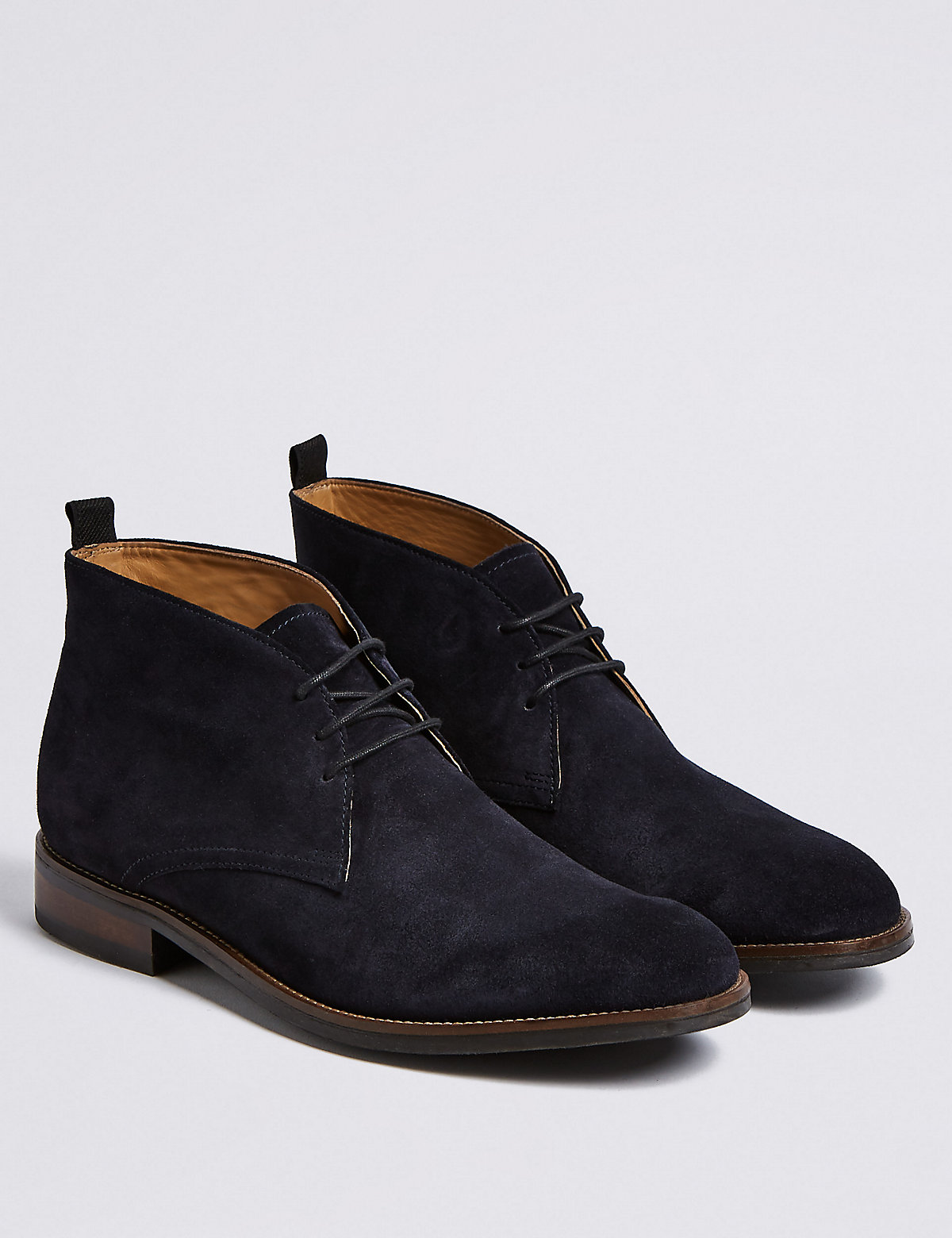 Marks & Spencer Navy Suede Lace-up Chukka Boots