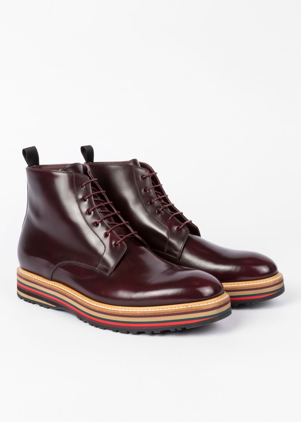 5335cb0fc6390 Mens Bordeaux Leather Corelli Boots With Multi-Coloured Soles by Paul Smith