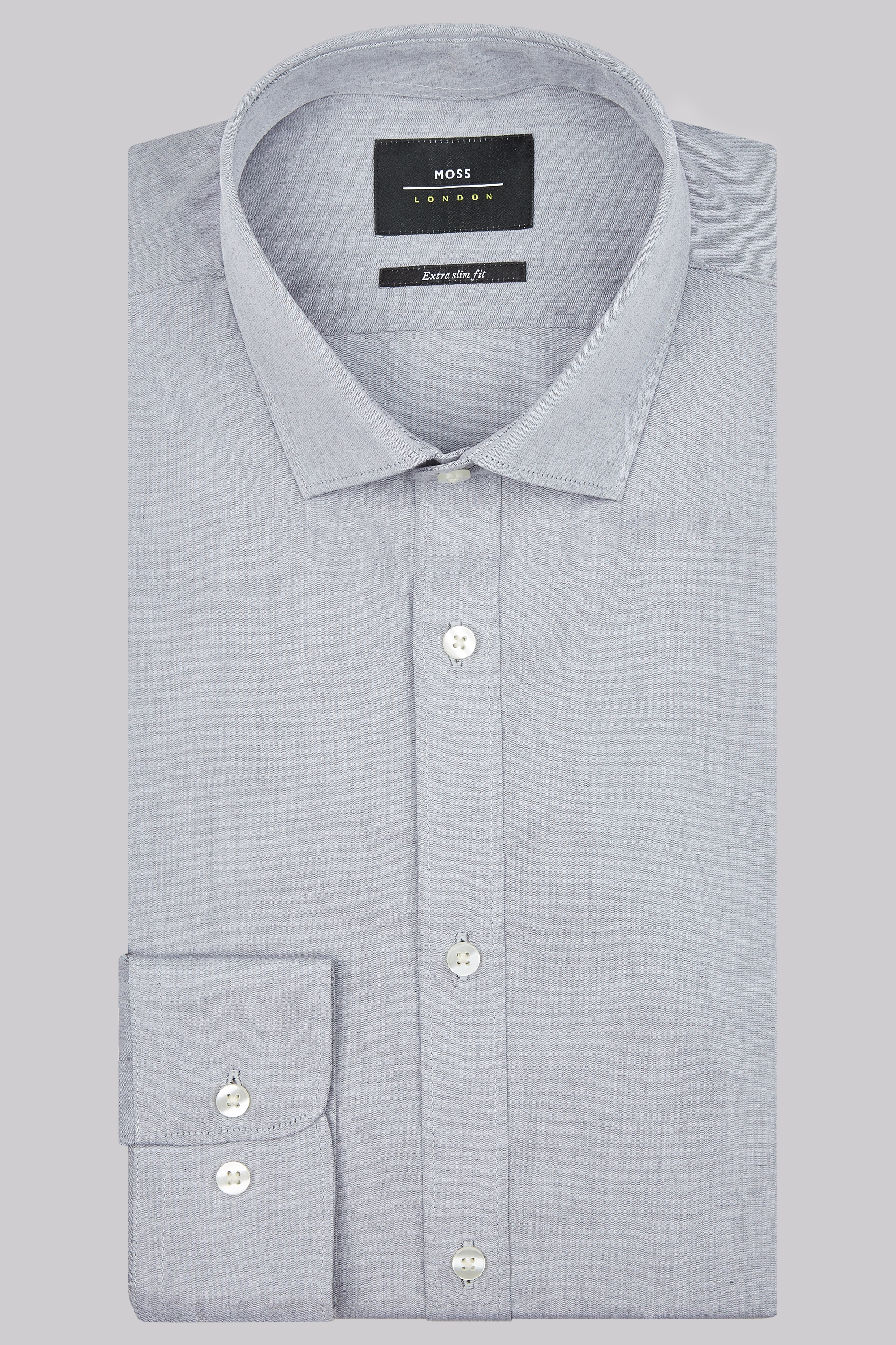 Moss Bros Moss London Premium Extra Slim Fit Grey Single Cuff Chambray Shirt