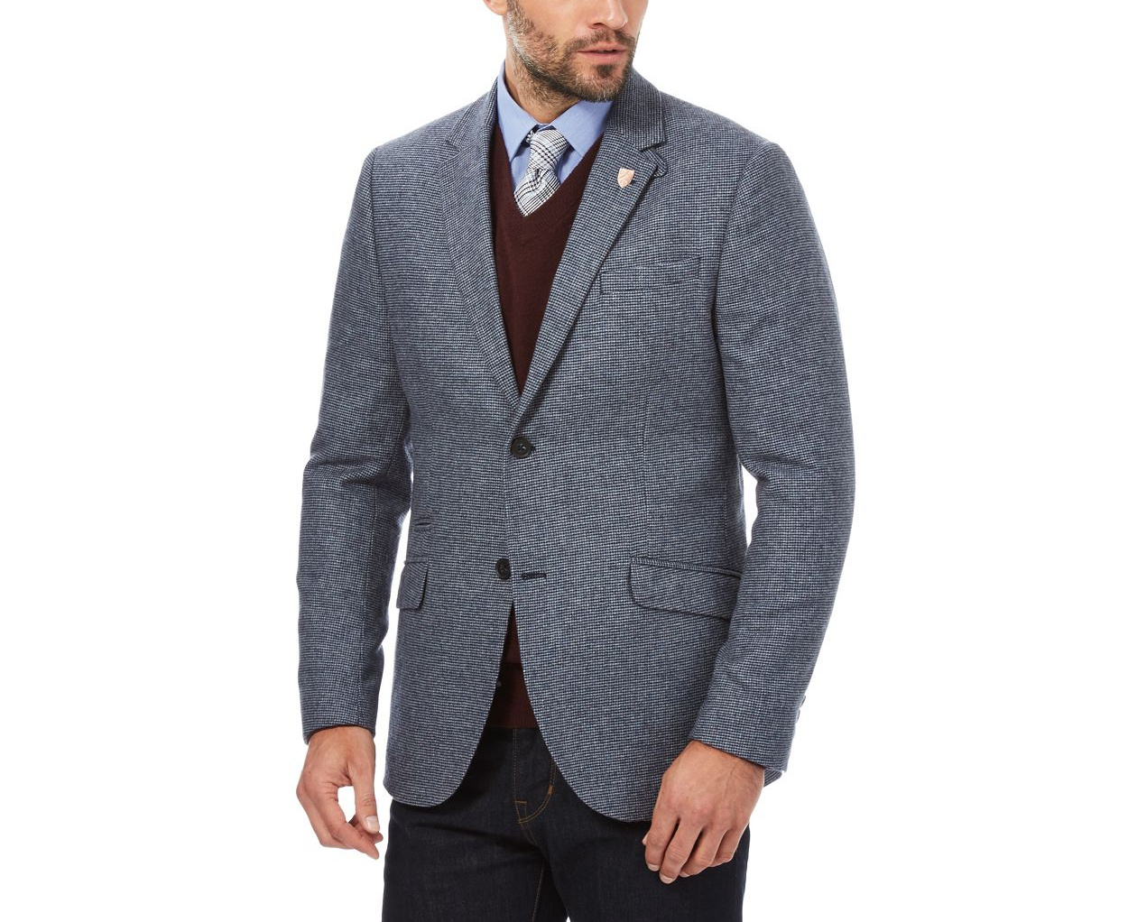 Hammond & Co. by Patrick Grant Blue houndstooth blazer jacket with wool