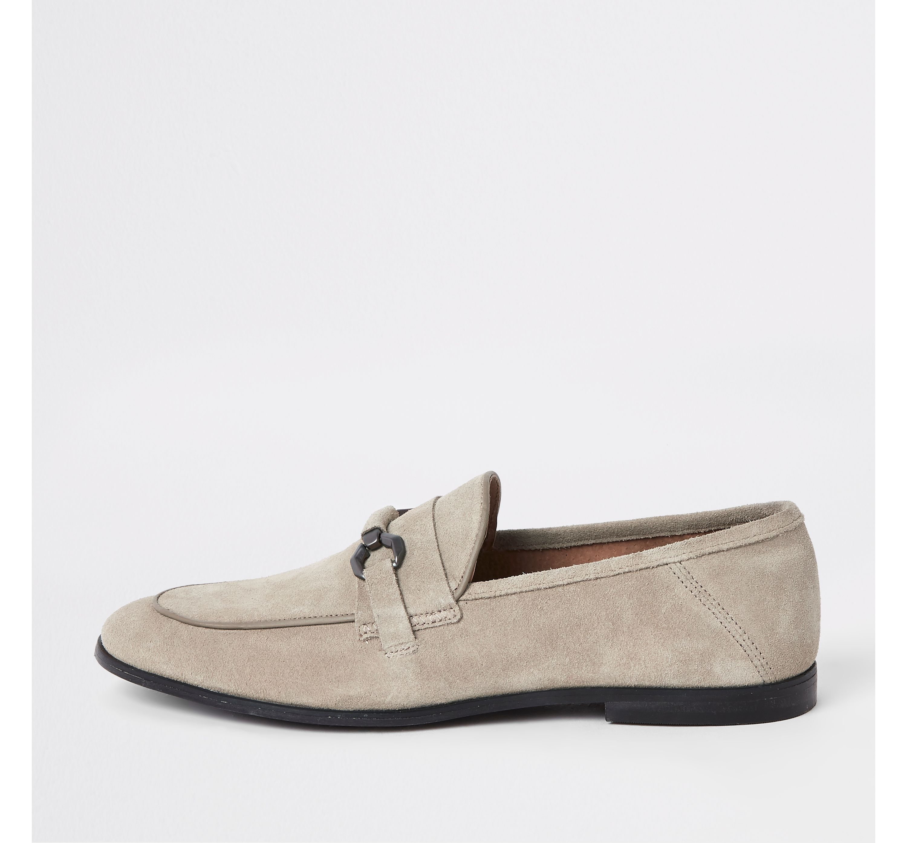 Mens Light Grey suede snaffle loafers