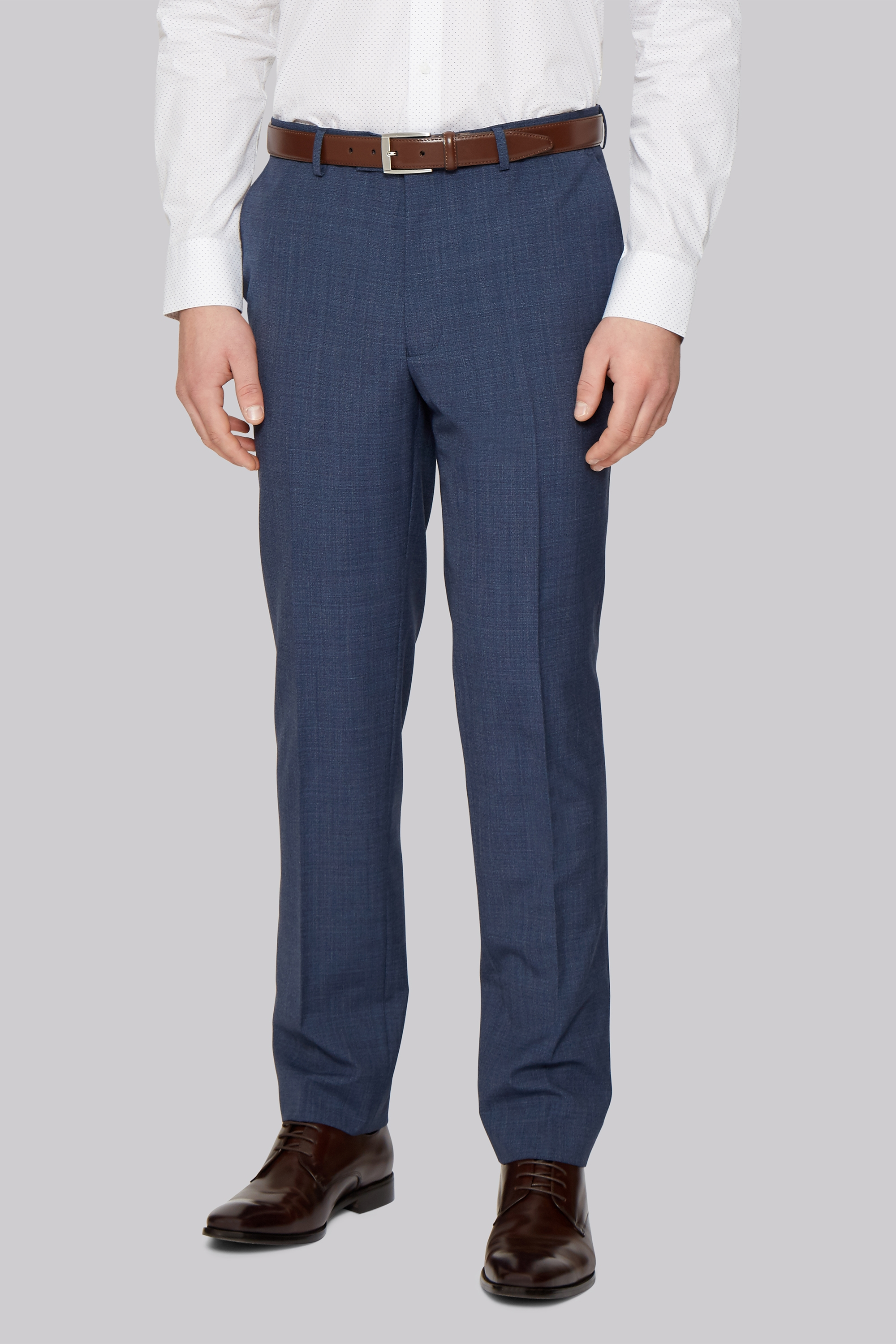 Moss Bros French Connection Slim Fit Blue Textured Trousers