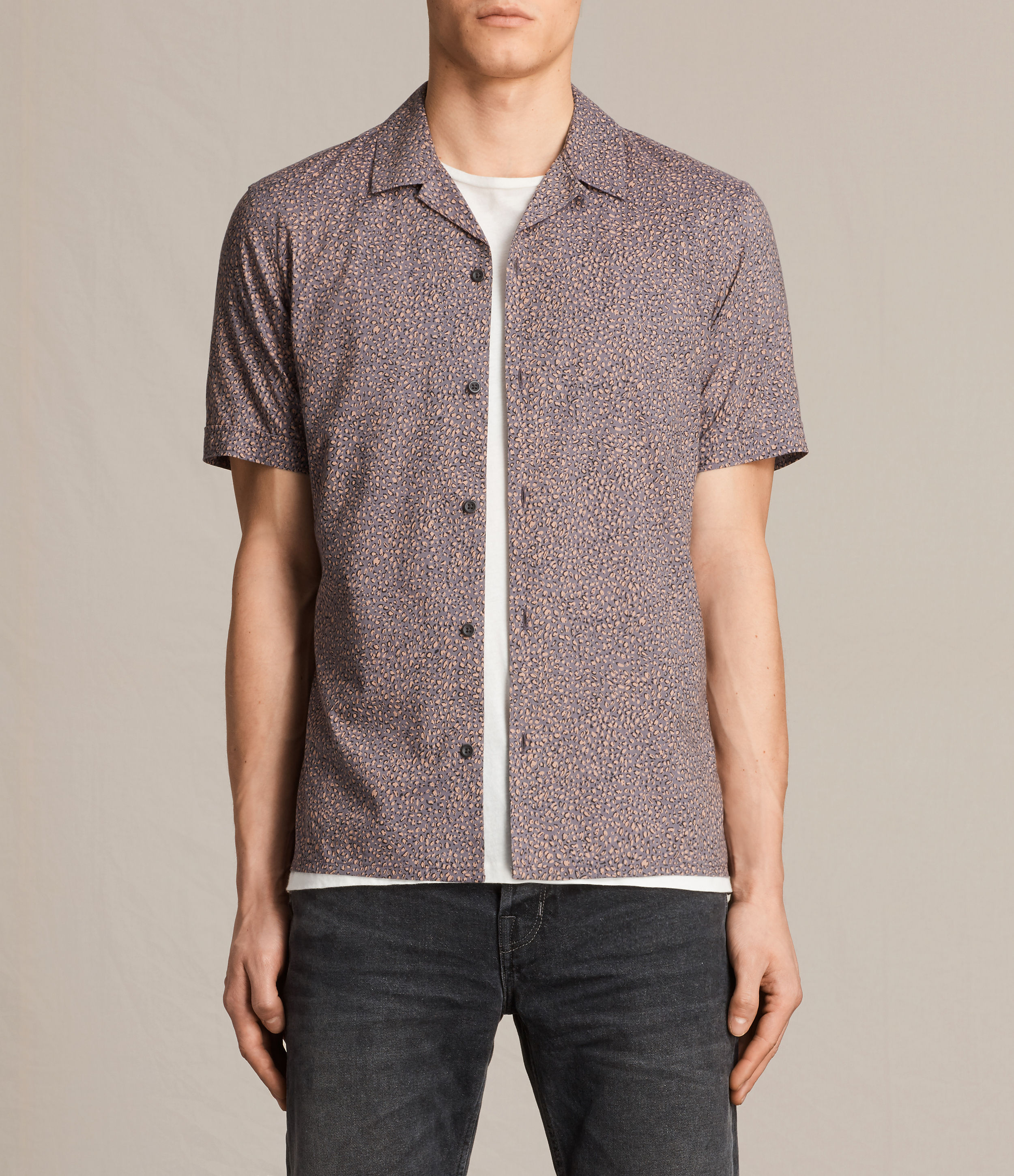 AllSaints Coal Grey Wasco Short Sleeve Shirt