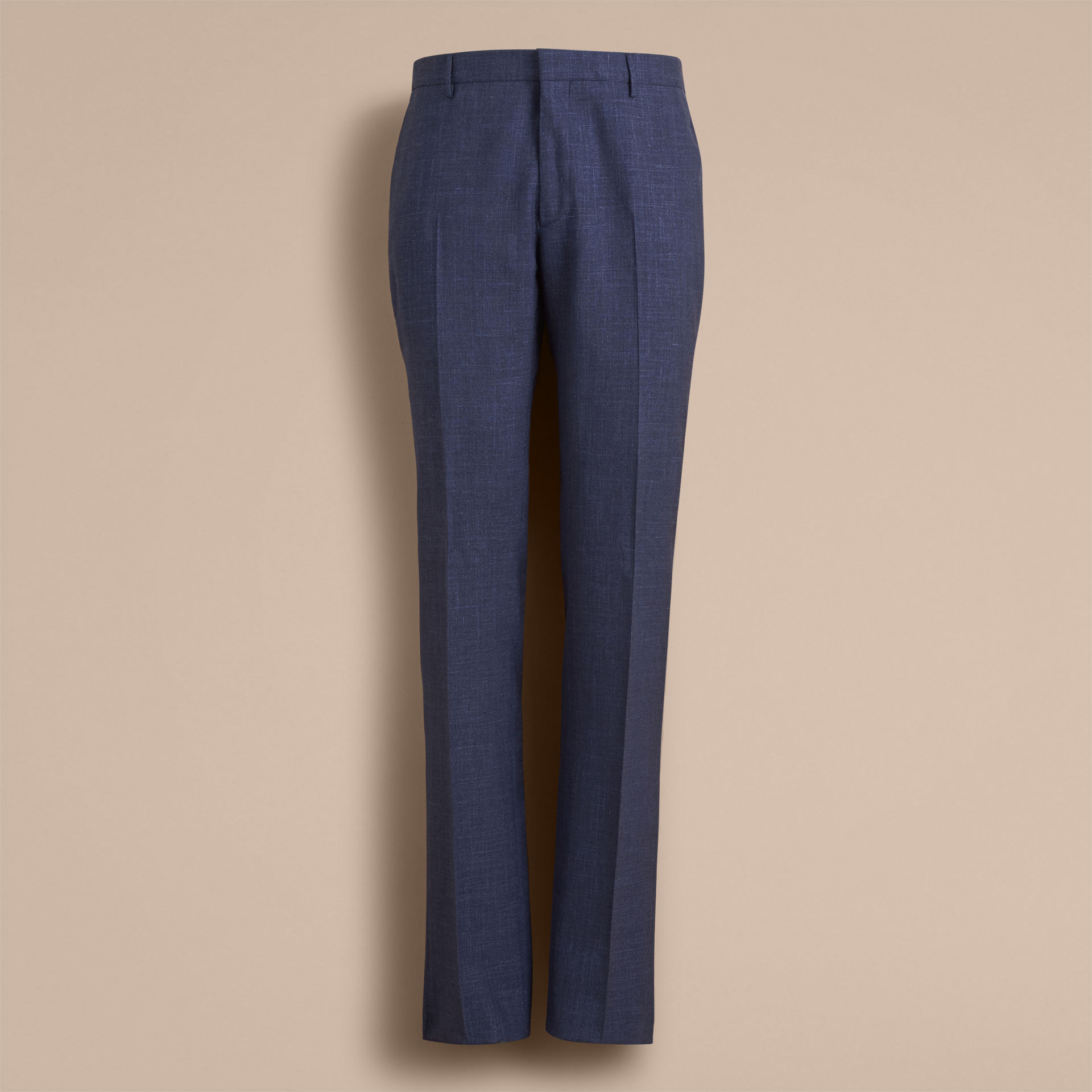 Burberry Steel Blue Modern Fit Wool Silk Blend Trousers