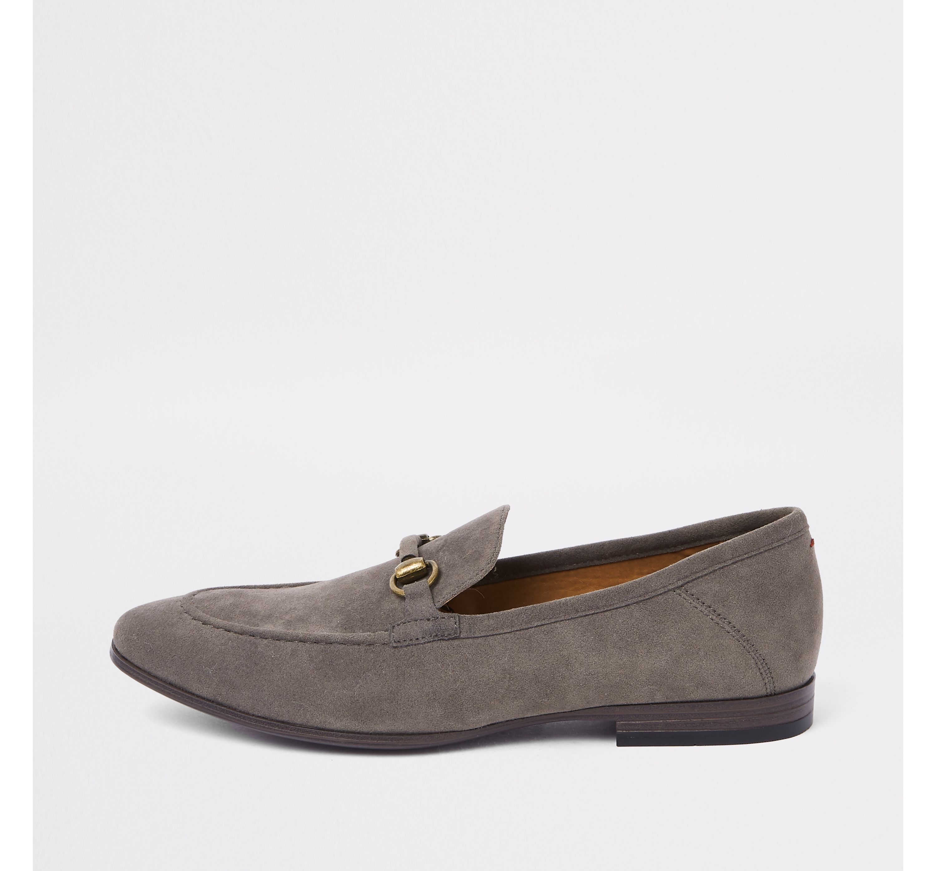 Mens Grey suede snaffle loafers by
