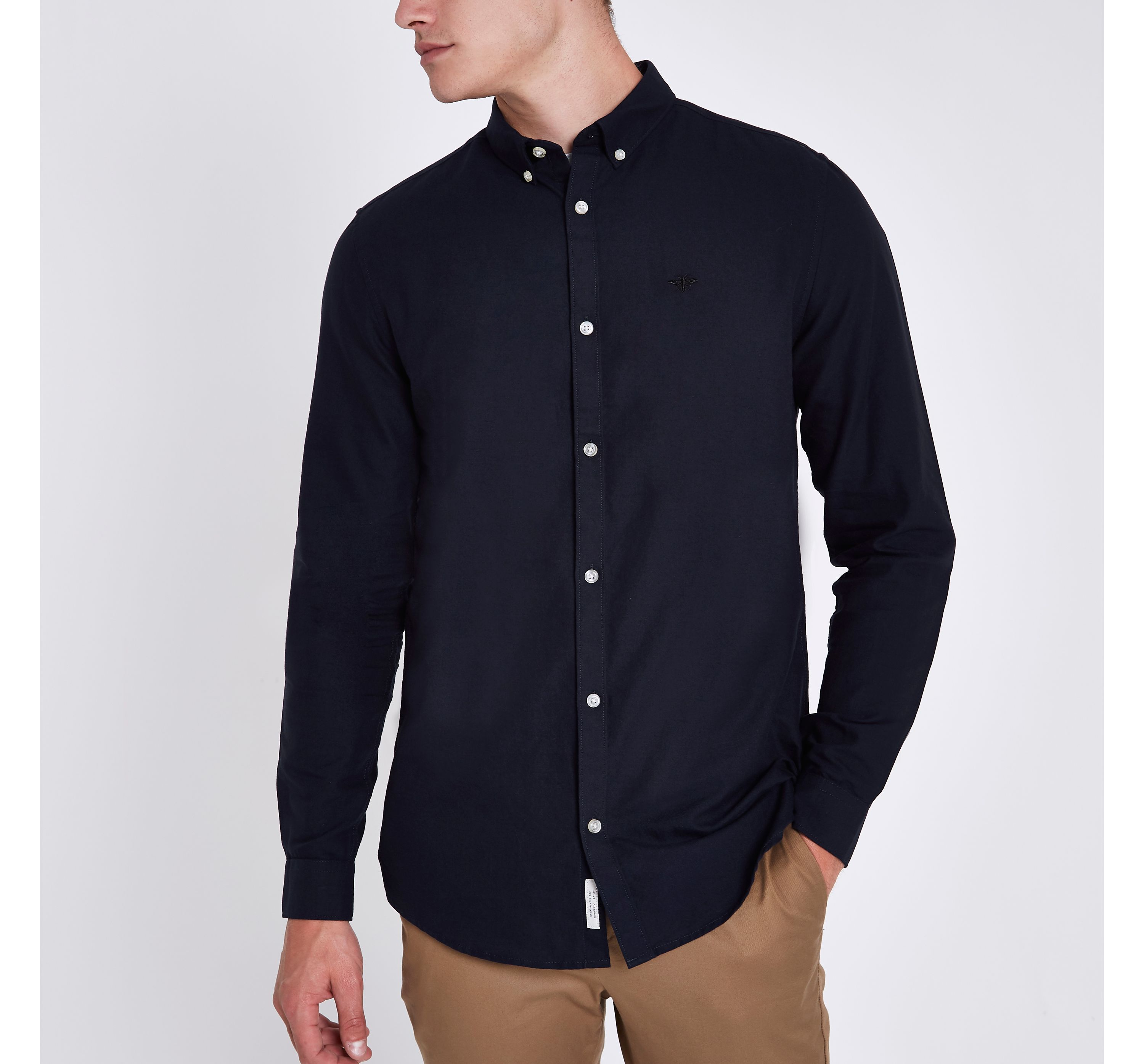 e70606703 Mens Navy wasp embroidered slim fit Oxford shirt. £22