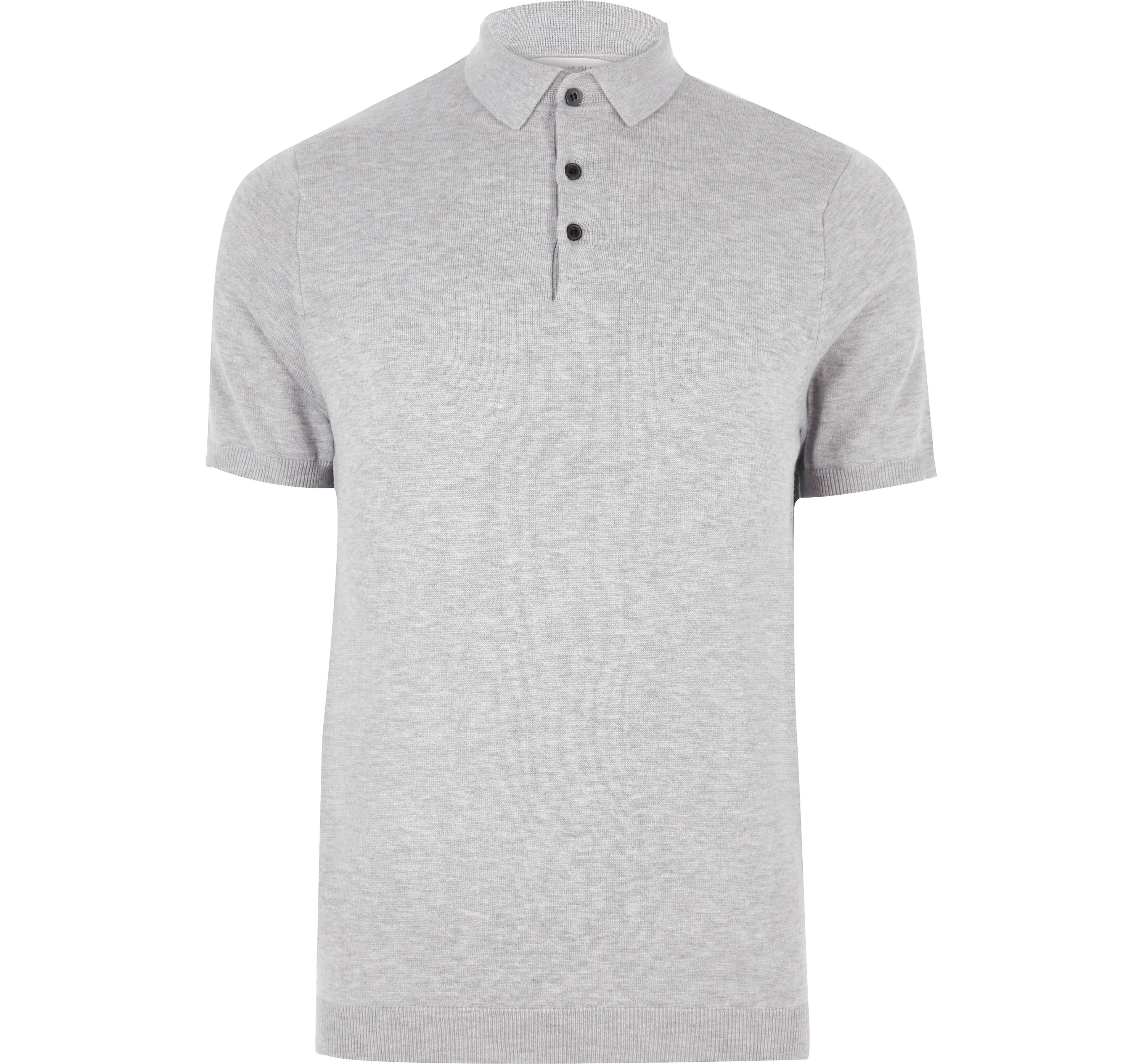 River Island Mens Grey slim fit polo shirt