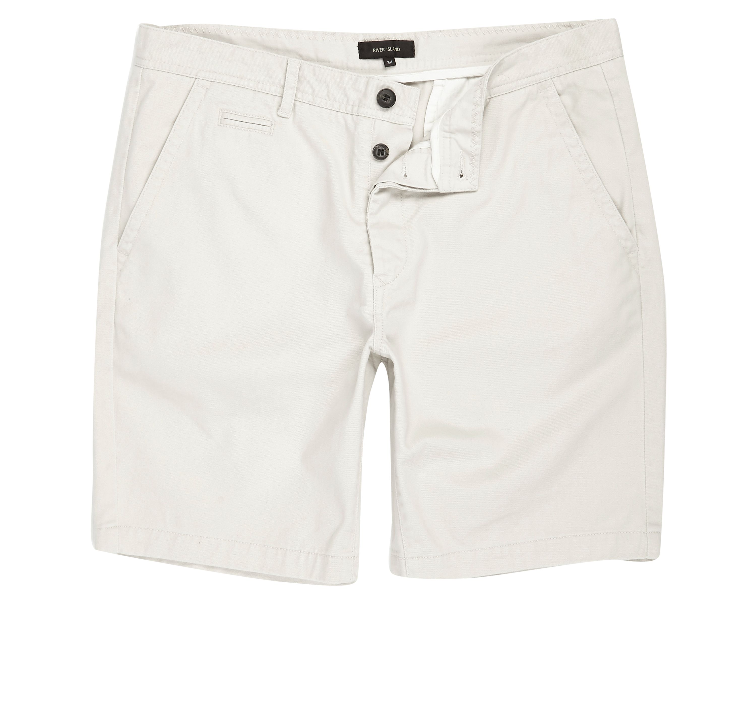 River Island Mens Beige slim fit chino shorts