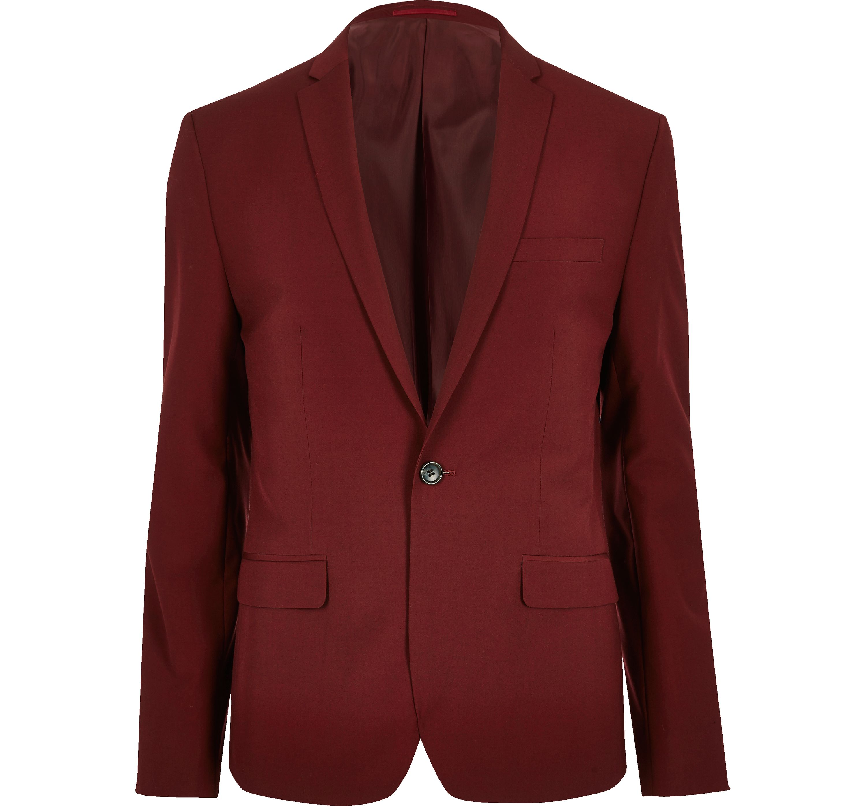 River Island Mens Red skinny fit suit jacket
