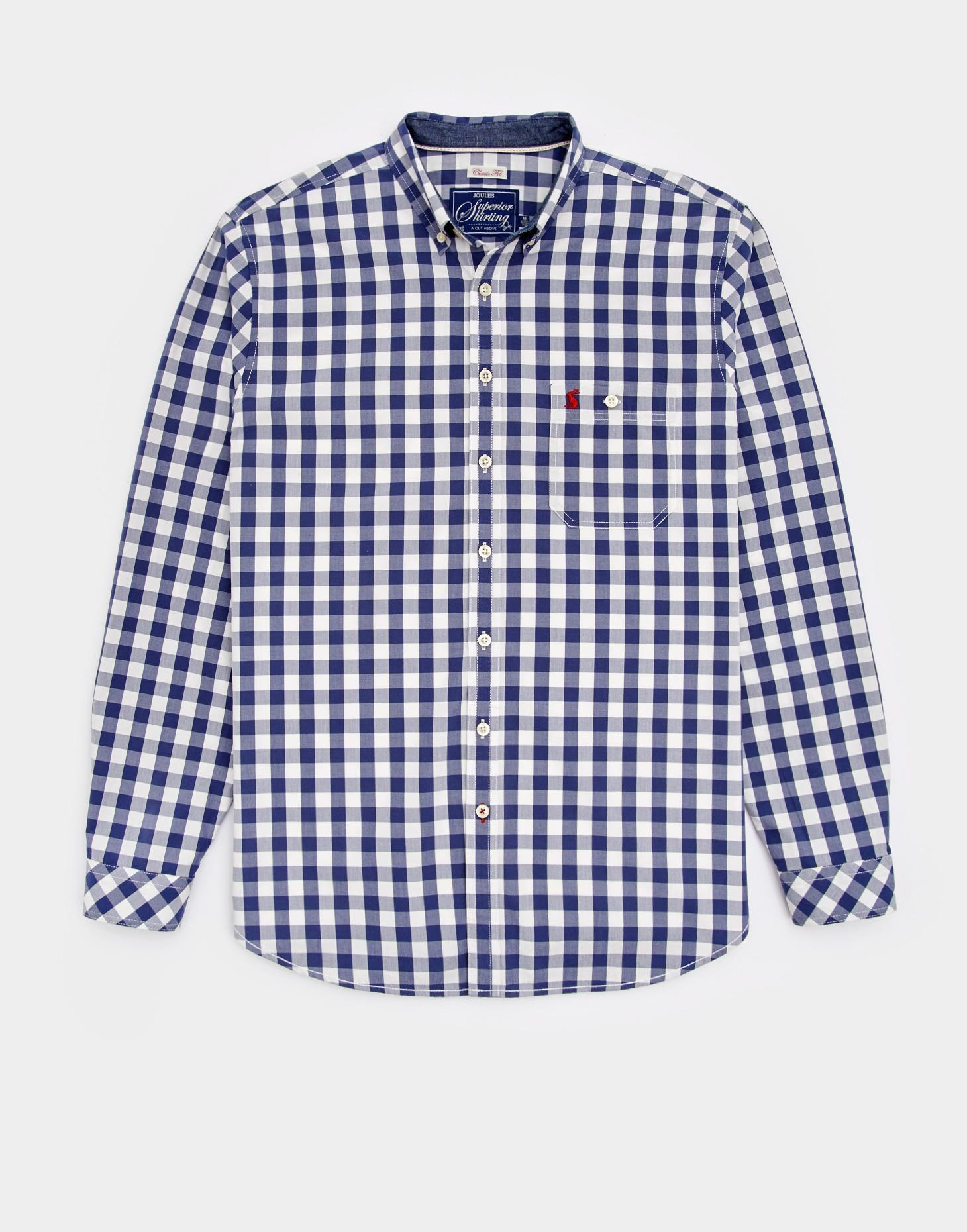 Joules Buckingham Blue Gingham HEWNEY Classic Fit Shirt