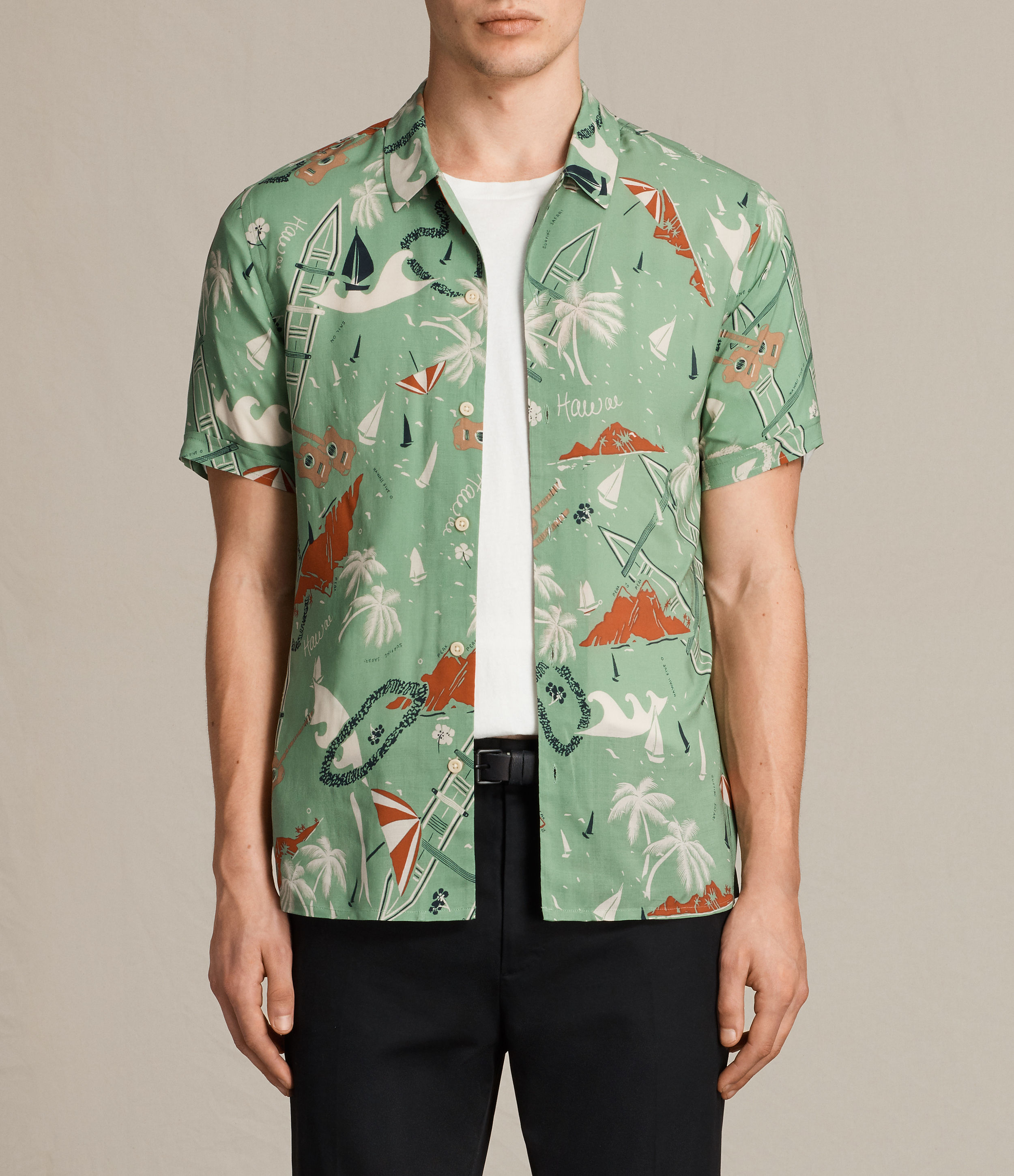 AllSaints Vintage Green Ulua Short Sleeve Shirt