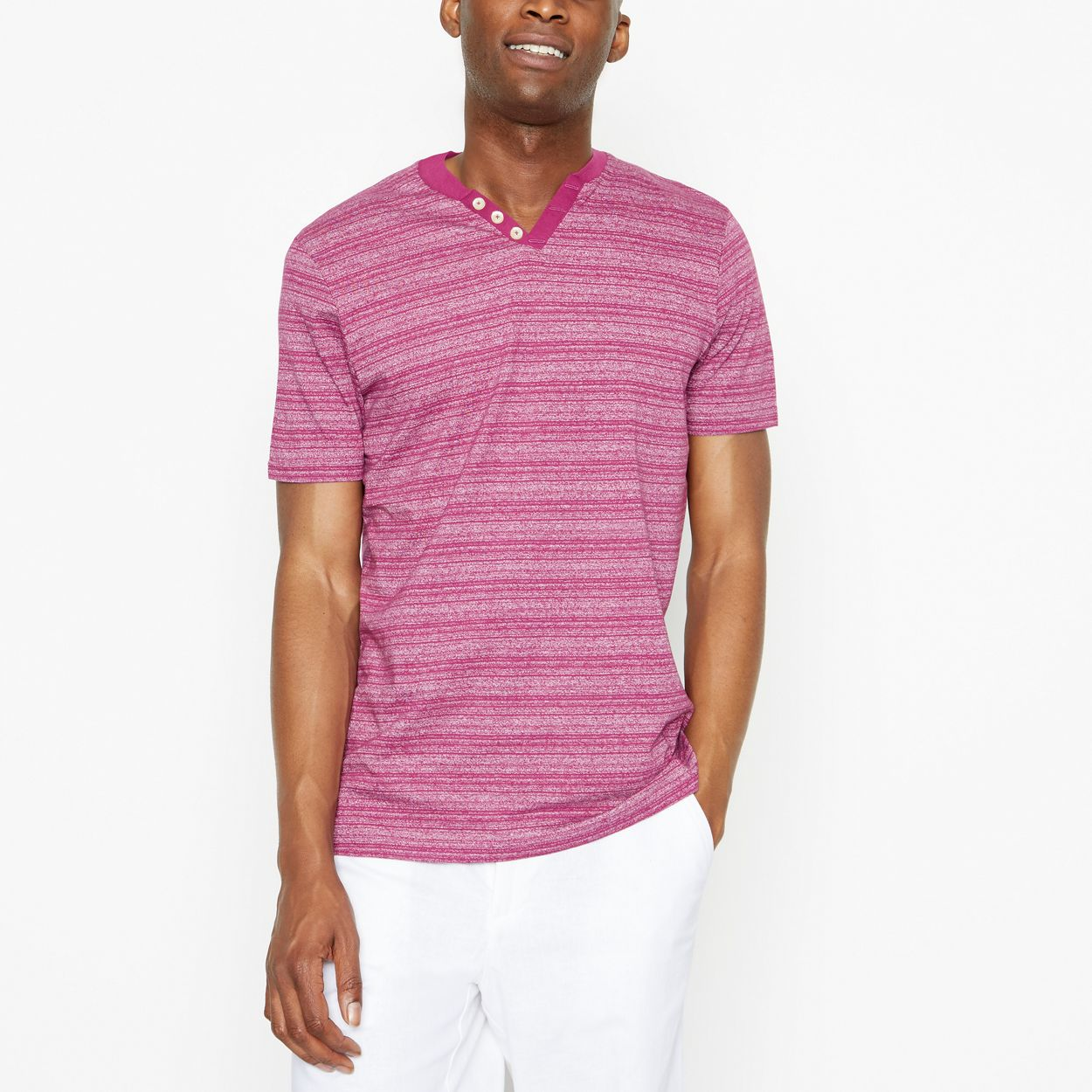 Maine New England Dark Pink Grindle Striped T-Shirt