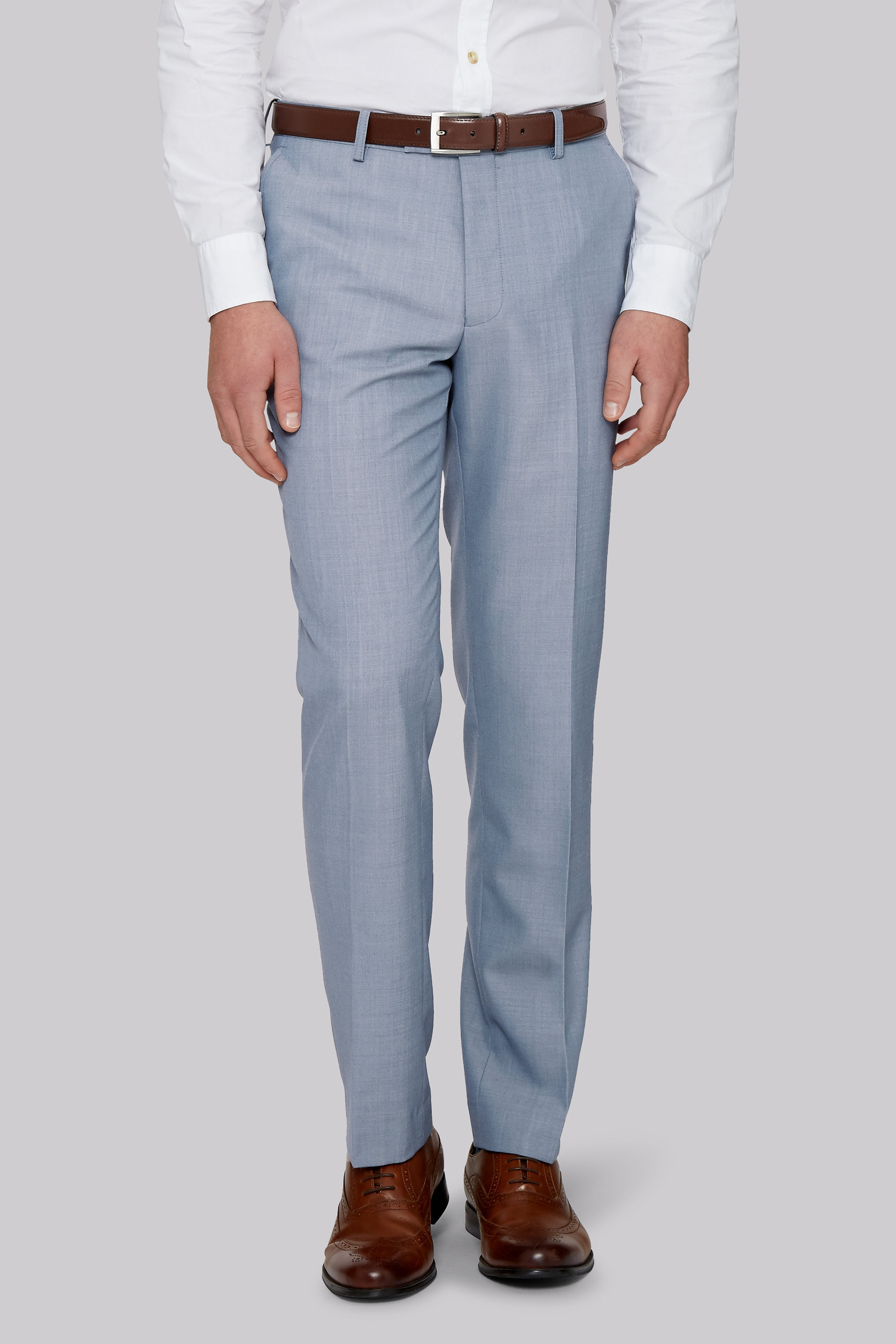 Moss Bros Moss 1851 Tailored Fit Ice Blue Trousers