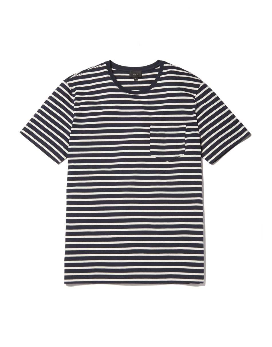 MVP Antill Crew Neck Striped T-shirt - Navy/Ecru