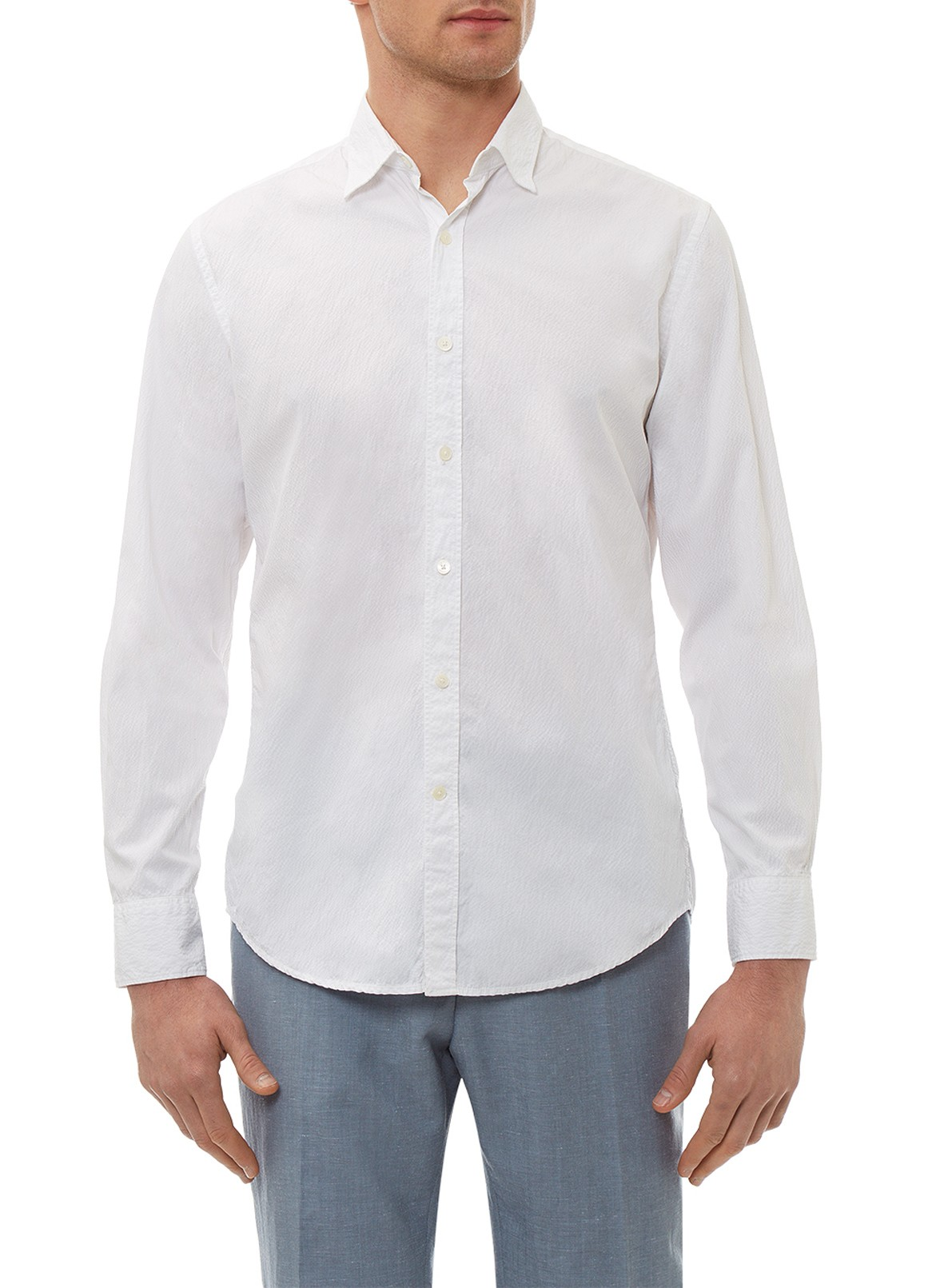 Hardy Amies WHITE COTTON-SEERSUCKER SHIRT