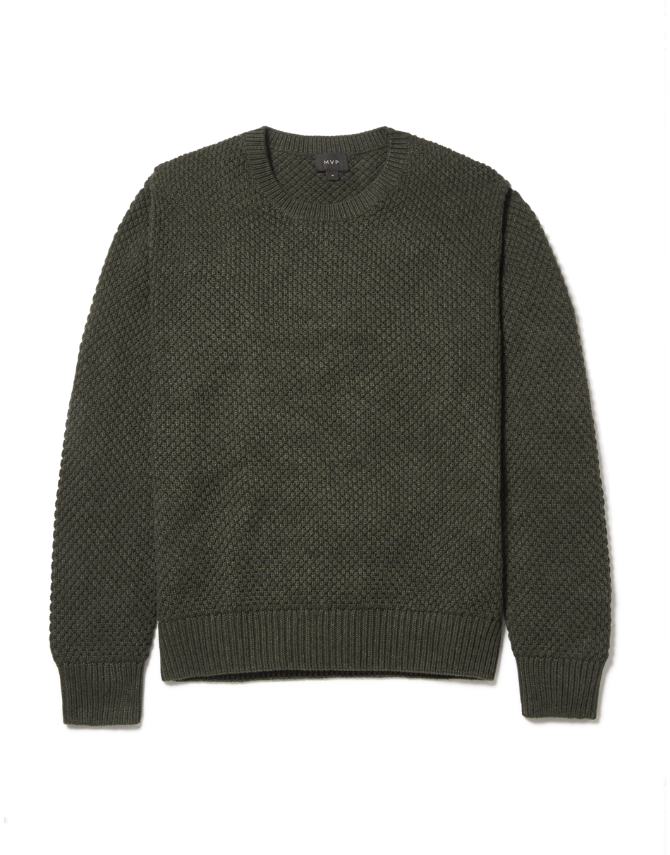 MVP Military Olive Smithy Crew Neck Textured Knit