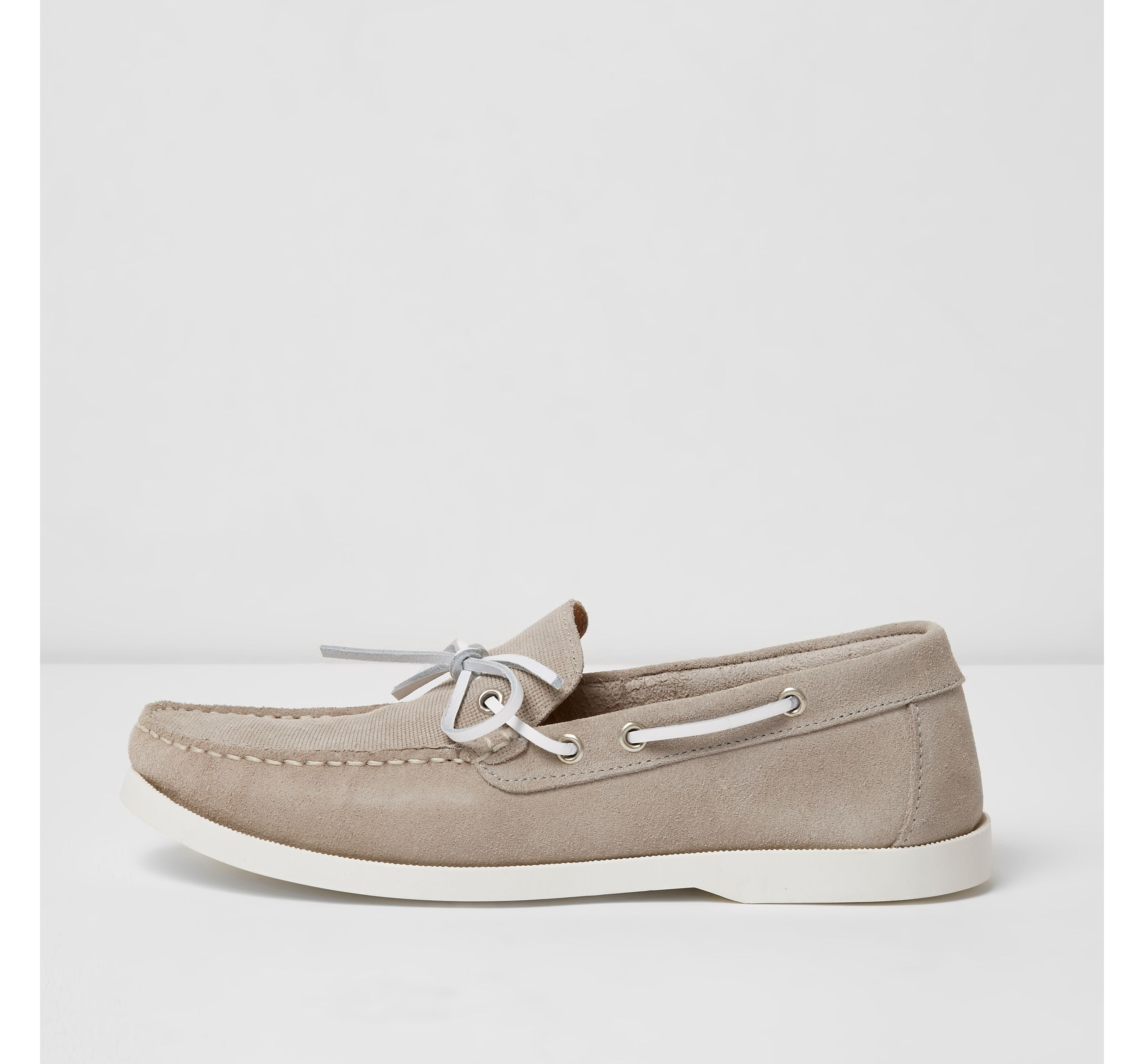 River Island Mens Light Grey suede boat shoes