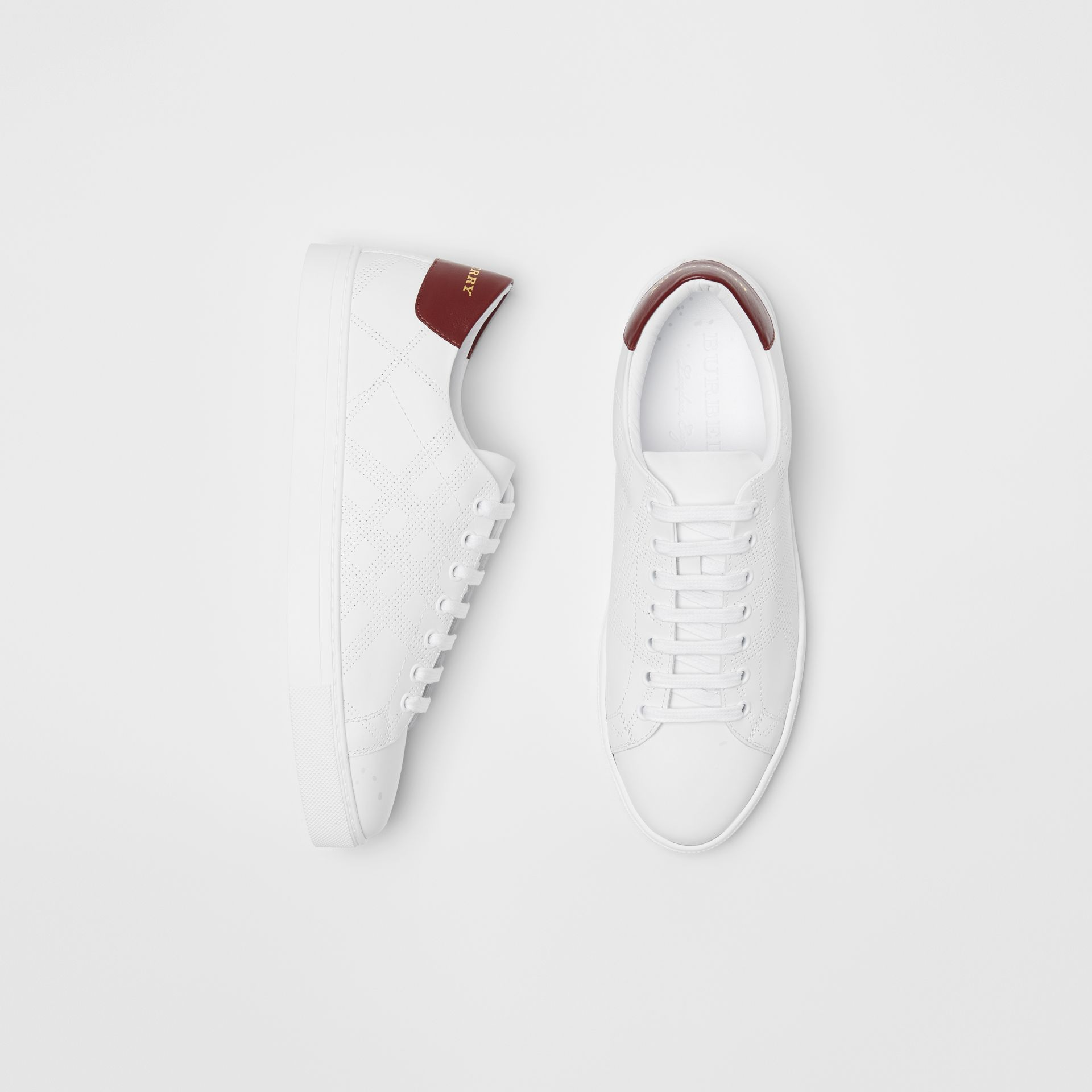 Perforated Check Leather Sneakers by