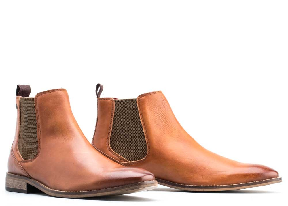 Base London TAN Cheshire Washed Chelsea Boots