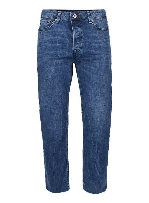 Topman Blue marble wash raw edge standard fit jeans