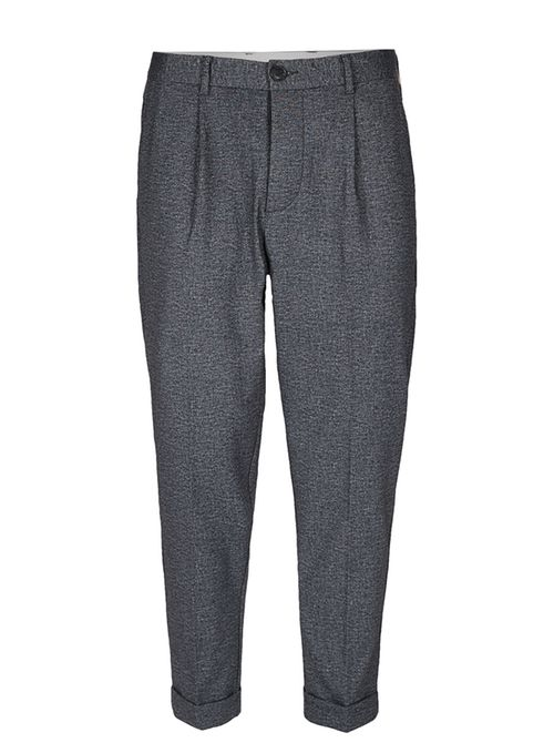 Selected grey crosshatch cropped trousers