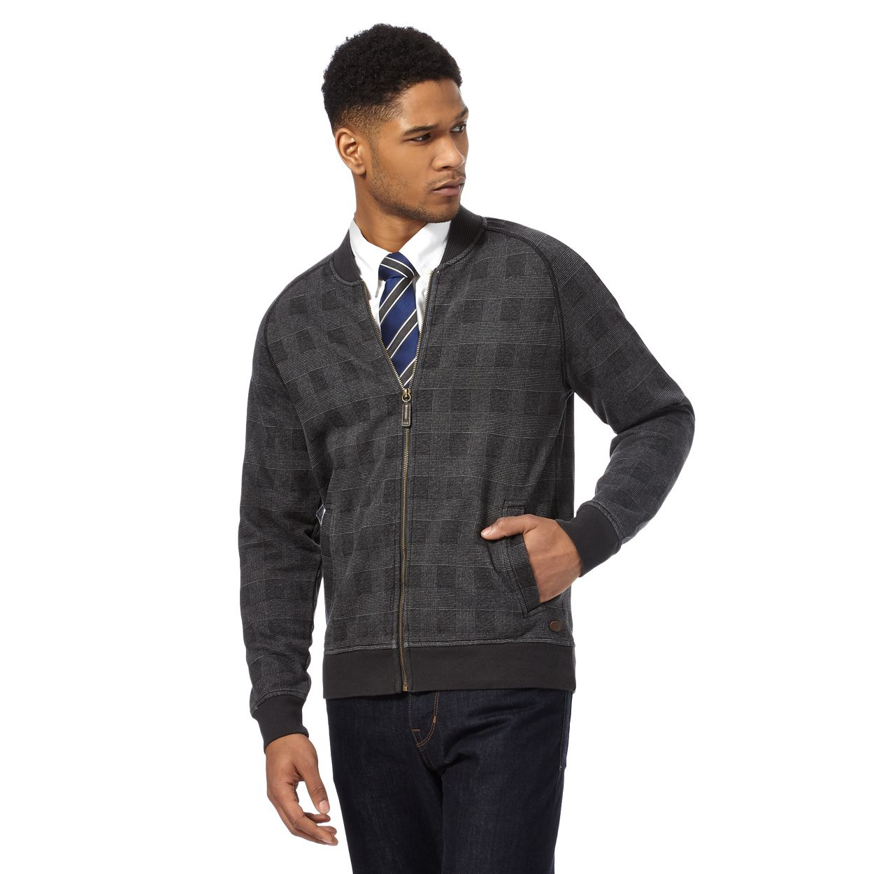 Hammond & Co. by Patrick Grant Grey Big and tall grey prince of wales checked bomber jacket
