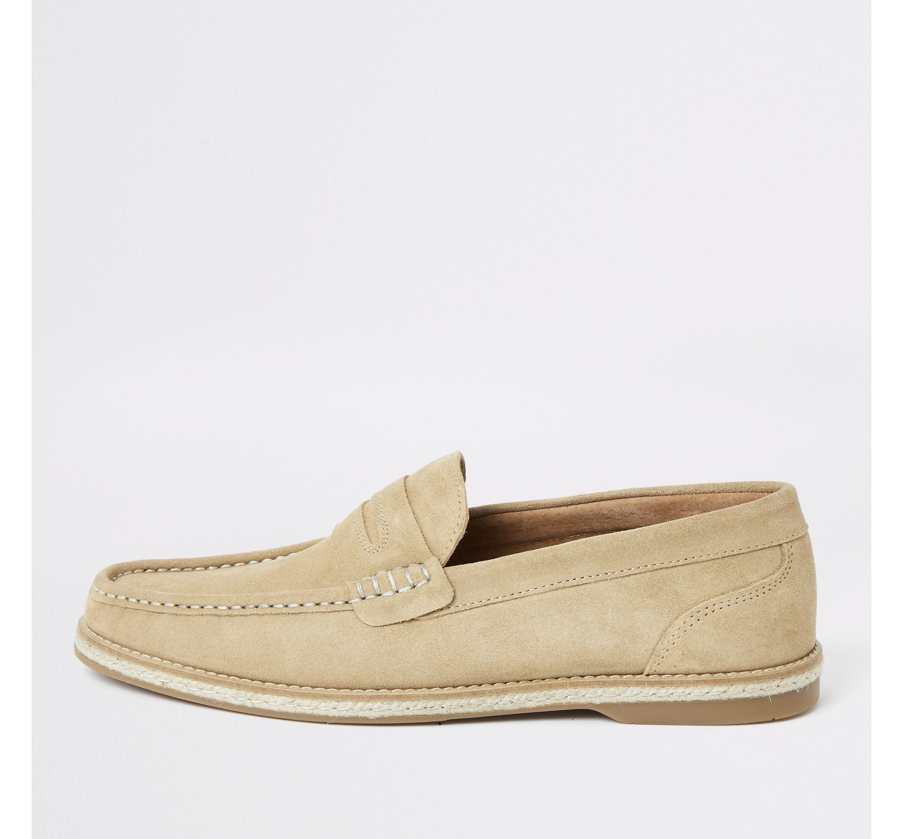 Mens River Island Beige suede loafers