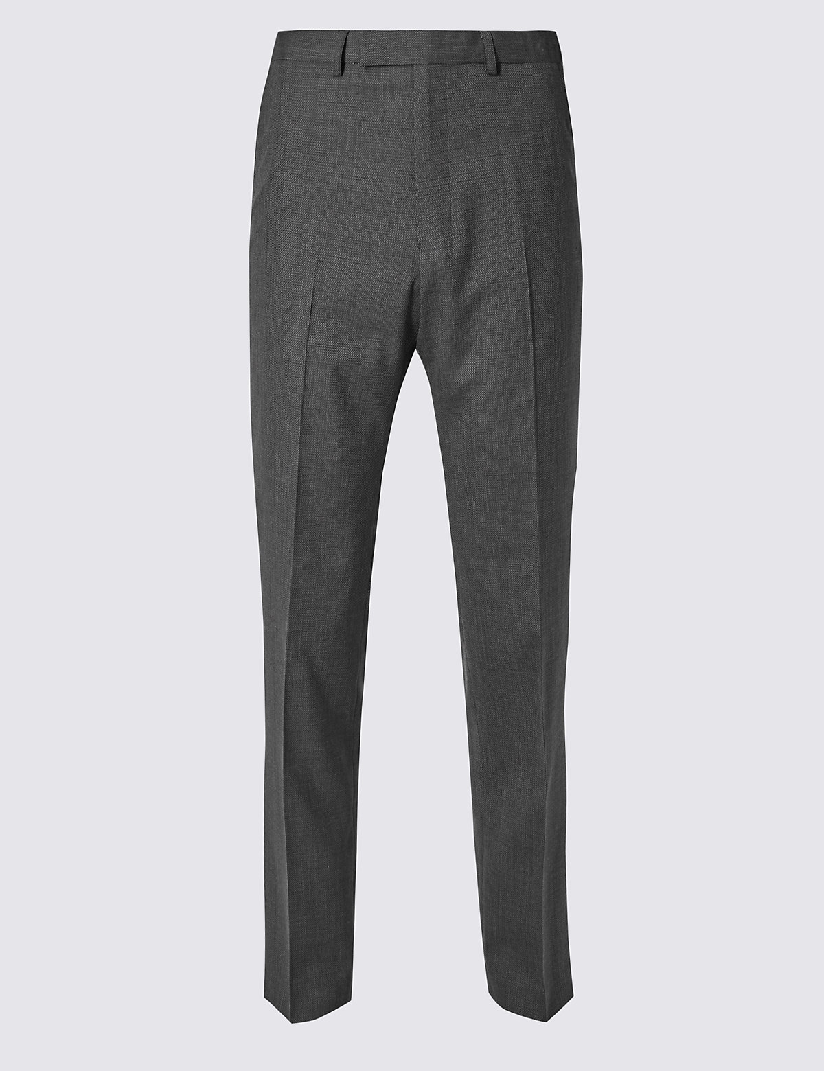 Marks & Spencer Grey Textured Regular Fit Trousers
